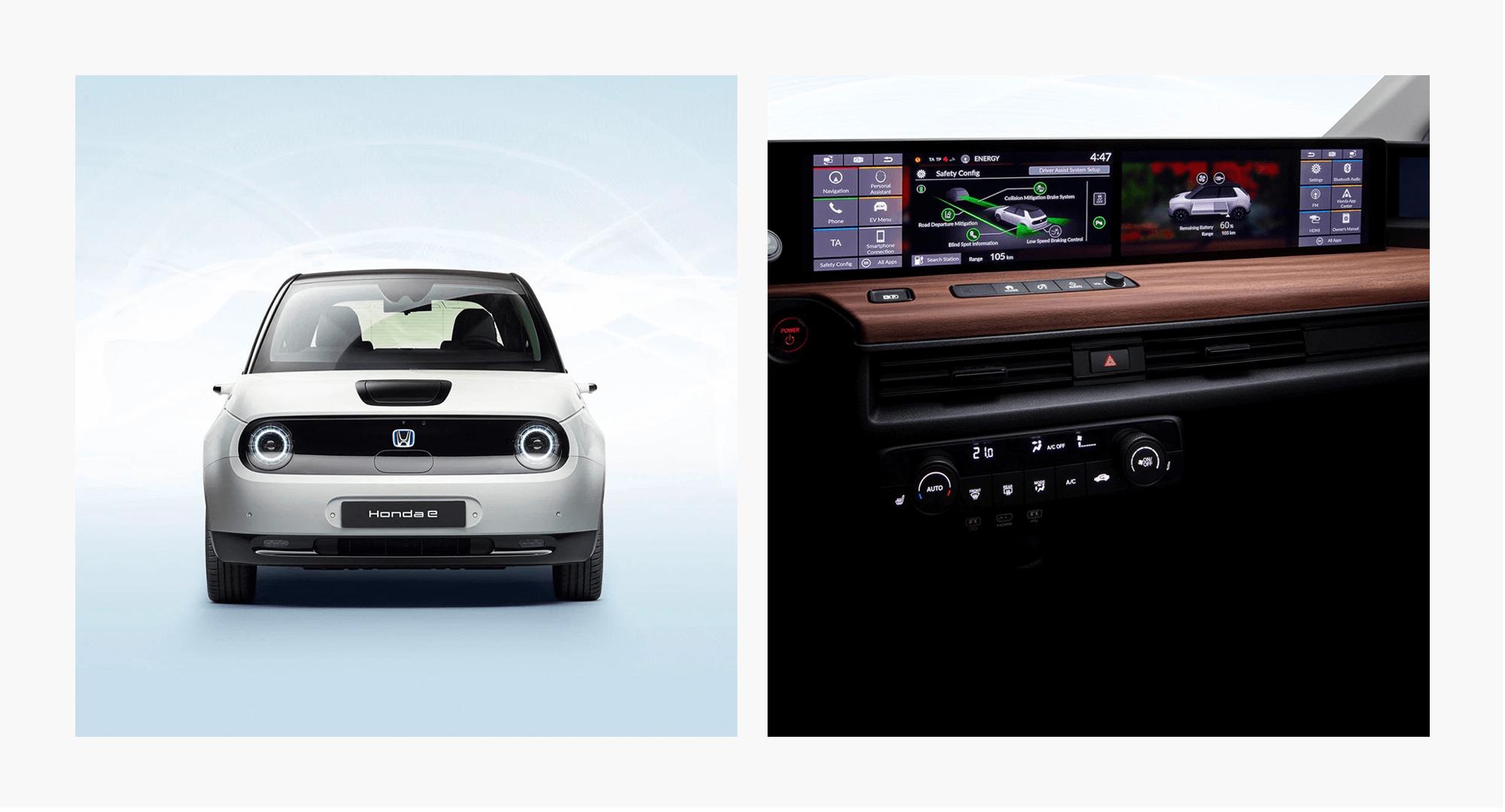Honda's electric generation, Honda e. The interior contains a futuristic, mega-wide digital dashboard.