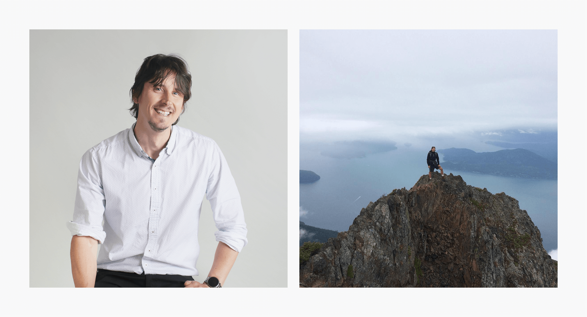 ( Left ) Jussi is our Lead Software Developer. ( Right )Outside of work, he is an avid hiker, motorcycle rider, tennis pro, and overnight backpacker.