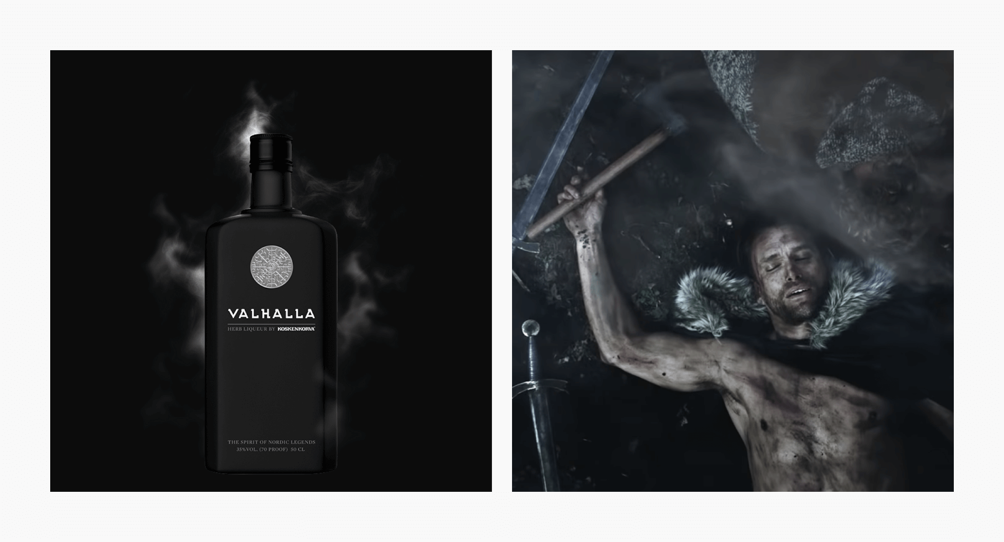 A bottle of Nordic herb liqueur, Valhalla. A warrior is lying down on the ground.