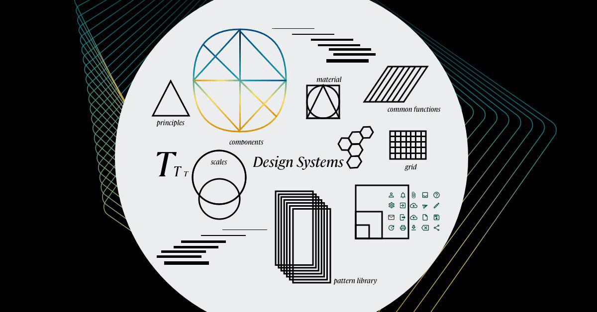 What is a Design System? A collage of graphics shows various elements that make up a Design System: principles, pattern library, visual language, UI elements, rules and documentation, material, common functions, typography, grid, component library and more.