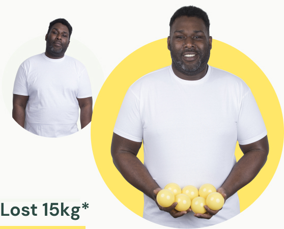 A man in a white t-shirt before and after losing 15kg of weight.