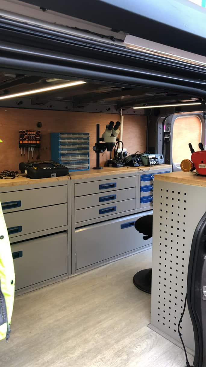 inside a auto locksmith specialist dorset mobile van