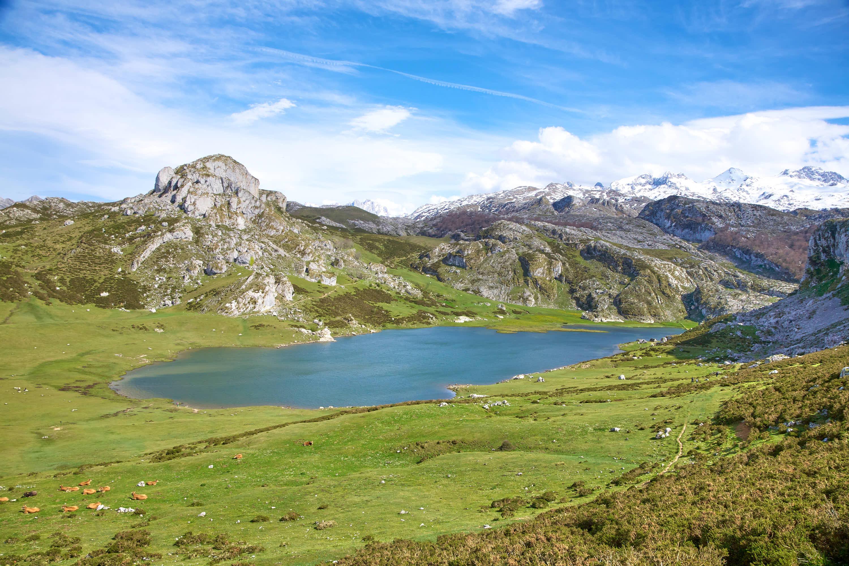 Lago Ercina, uno de los Lagos de Covadonga, Cangas de Onis, Asturias