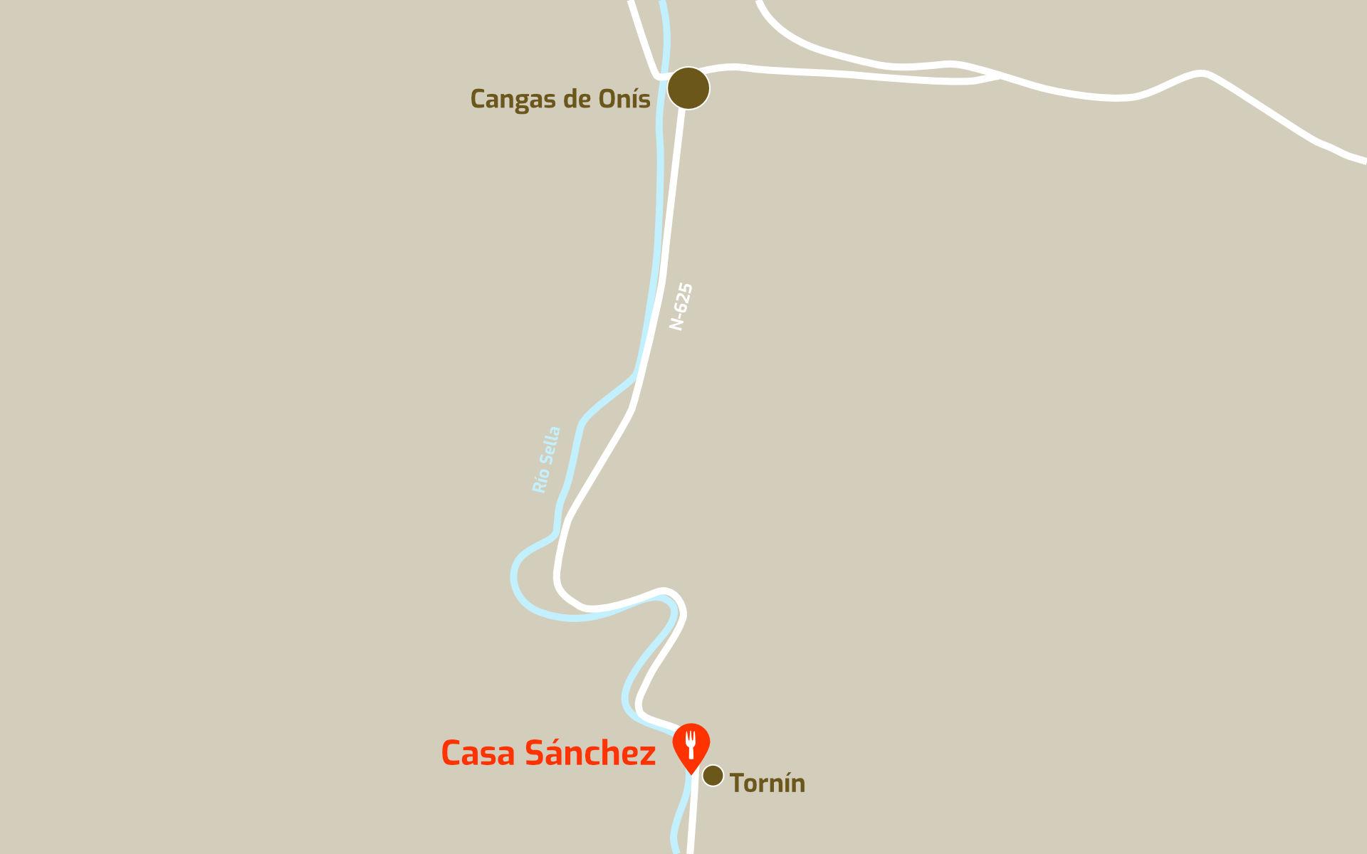 Mapa de cómo llegar al restaurante Casa Sánchez en Tornín, Cangas de Onís, Asturias
