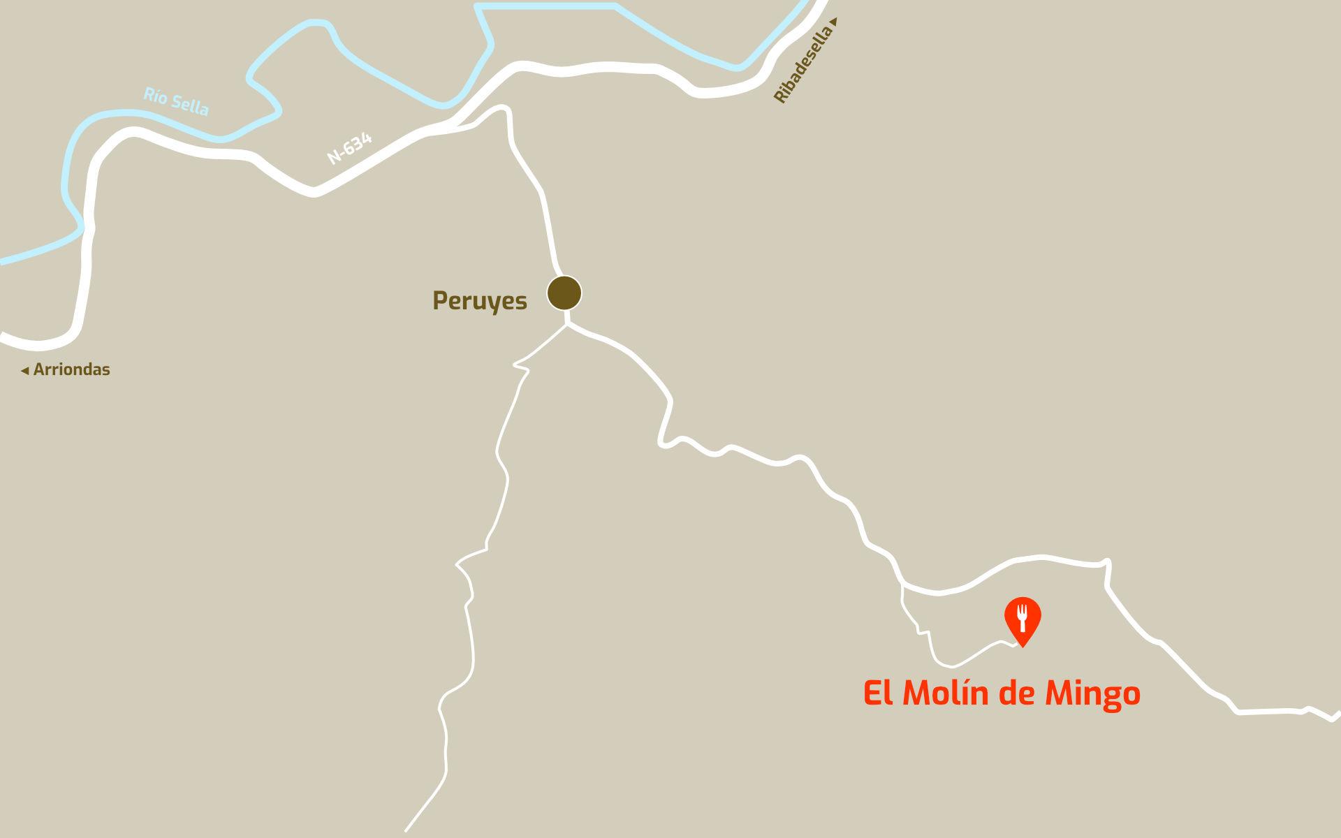 Mapa de cómo llegar al restaurante Molin de Mingo, en Peruyes, Cangas de Onis, Asturias