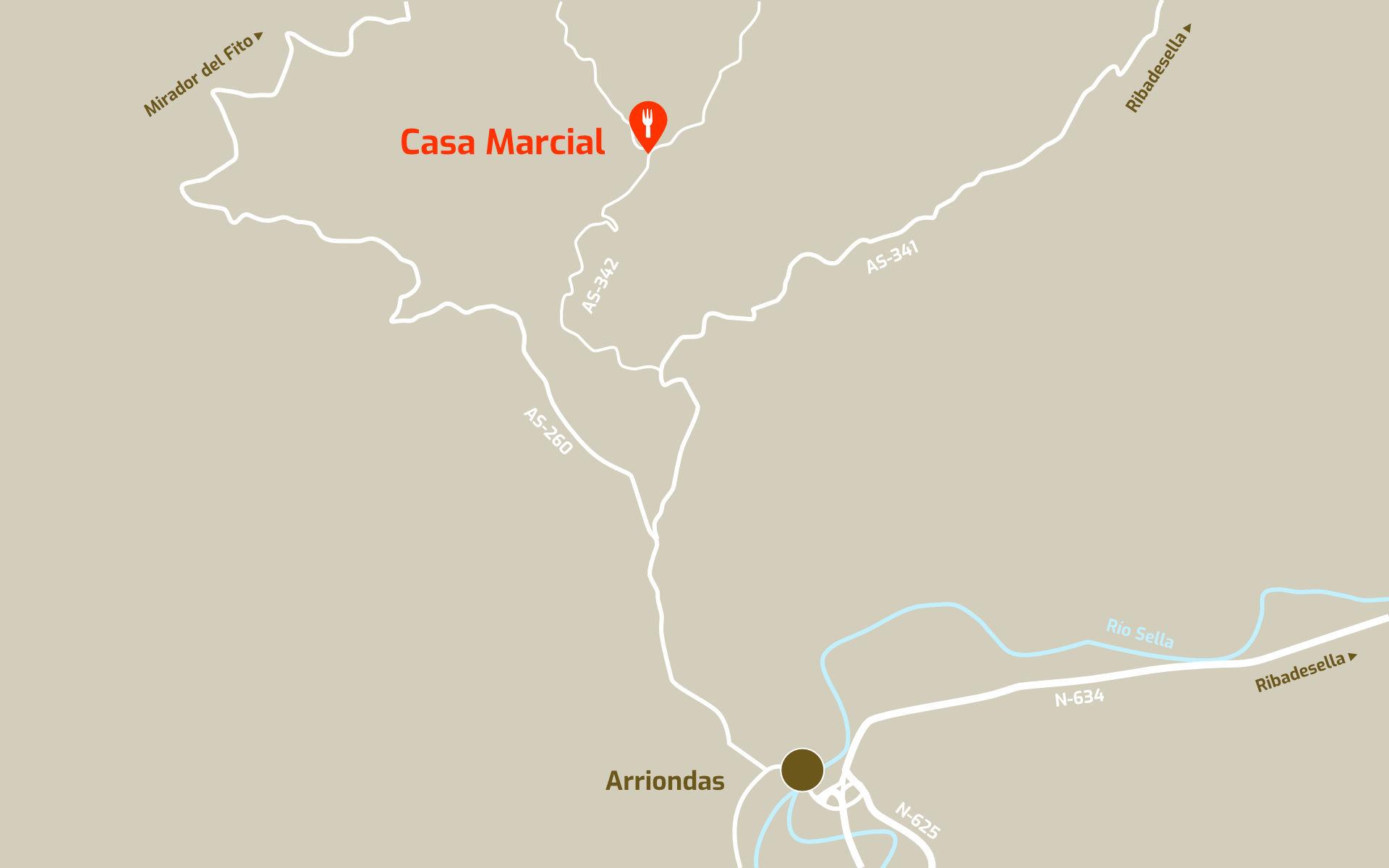 Mapa de cómo llegar al restaurante Casa Marcial en Arriondas, Parres, Asturias