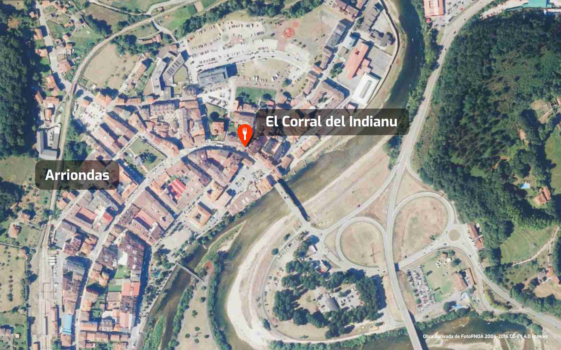 Mapa de cómo llegar al restaurante El Corral del Indianu en Arriondas, Asturias