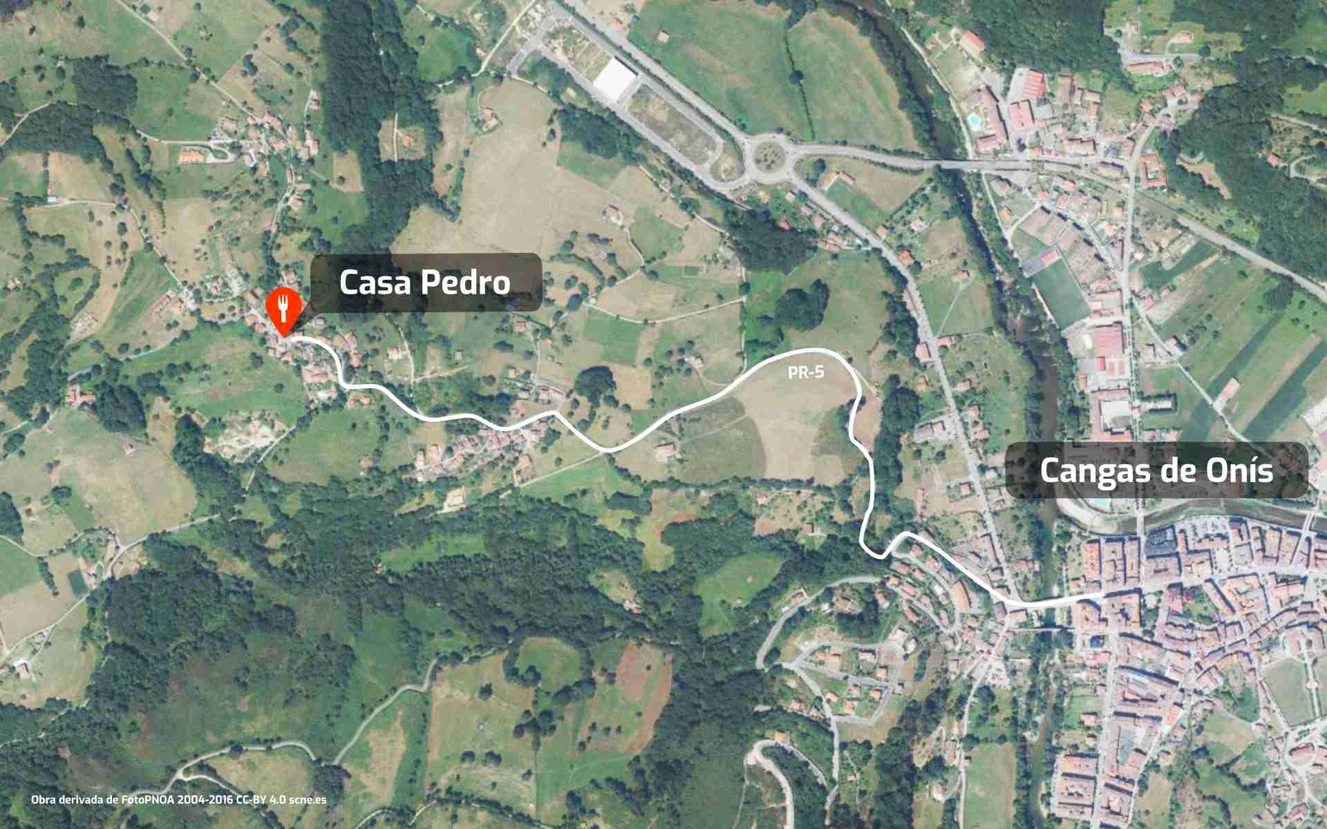 Mapa de cómo llegar al restaurante Casa Pedro en Parres, Cangas de Onís, Asturias.