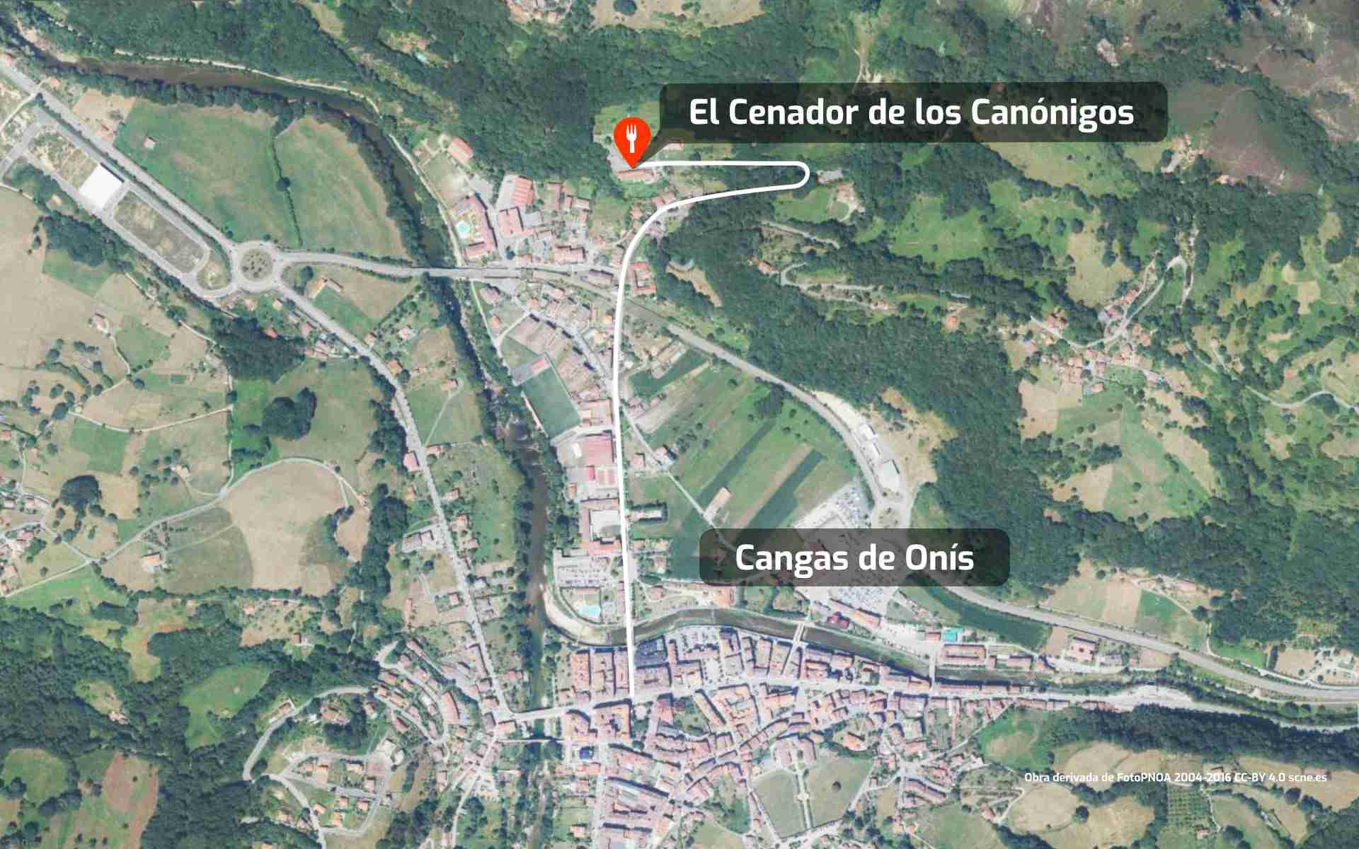 Mapa de cómo llegar al restaurante El Cenador de los Canónigos en Cangas de Onís, Asturias