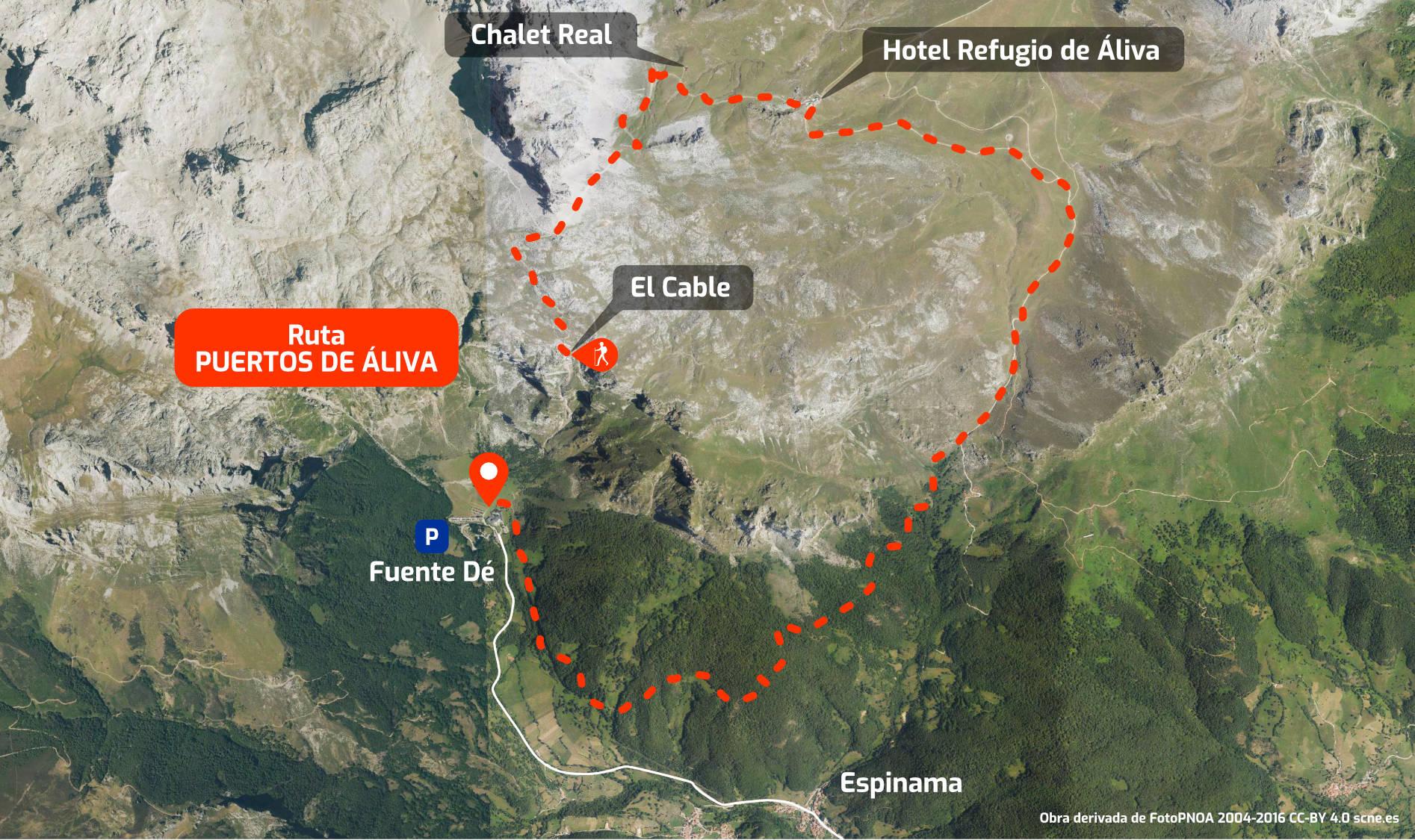 Mapa del recorrido de la ruta de Fuente Dé por los Puertos de Áliva en Picos de Europa