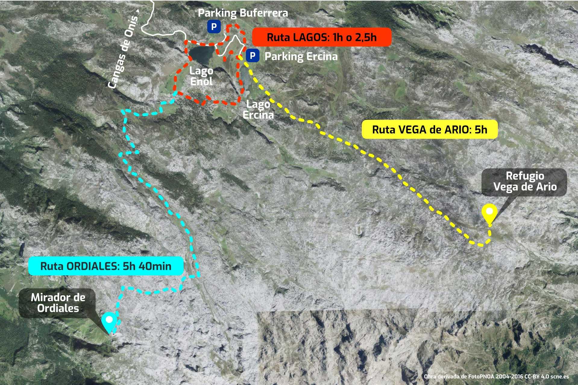Mapa con las mejores rutas en los Lagos de Covadonga, Cangas de Onís, Asturias
