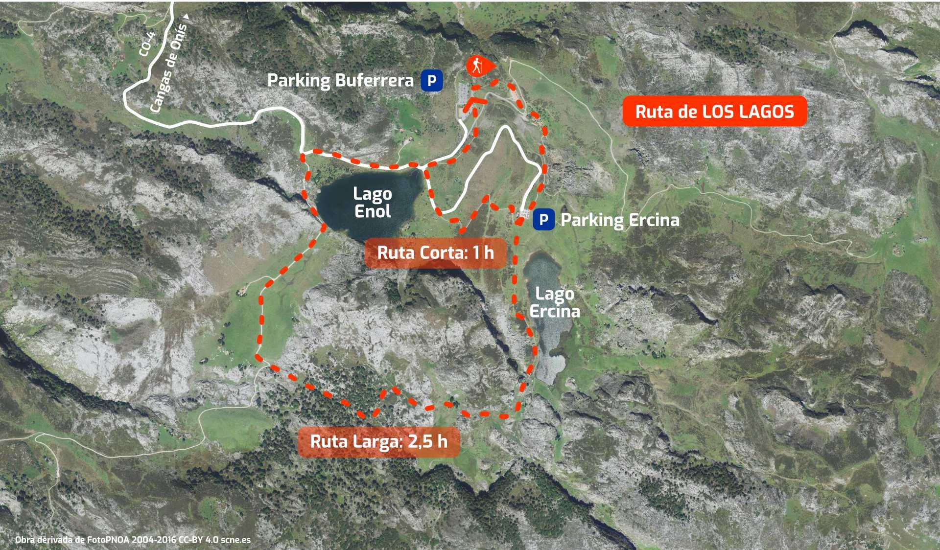 Mapa de la ruta alrededor de los Laos de Covadonga, en Cangas de Onís, Asturias