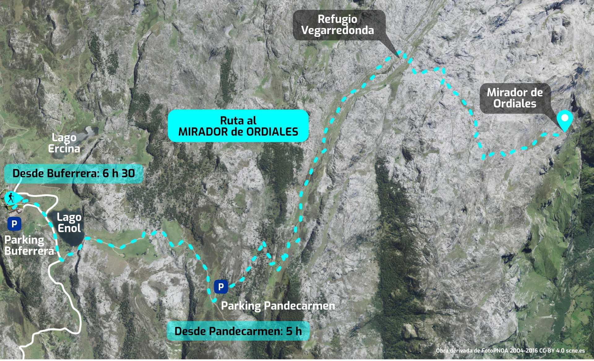 Mapa del recorrido de los Lagos de Covadonga al Mirador de Ordiales, en los Picos de Europa, Asturias