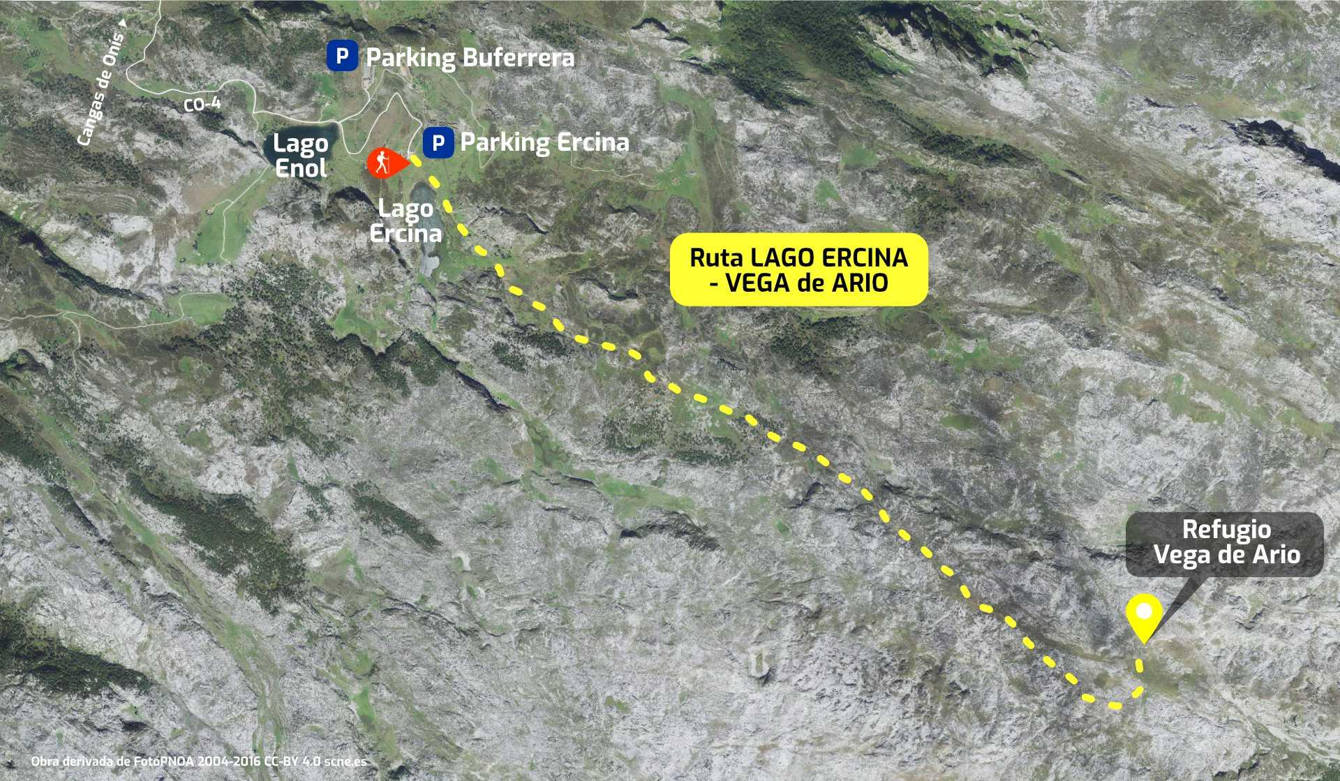 Mapa del recorrido de la ruta desde los Lagos de Covadonga a la Vega de Ario, en Picos de Europa