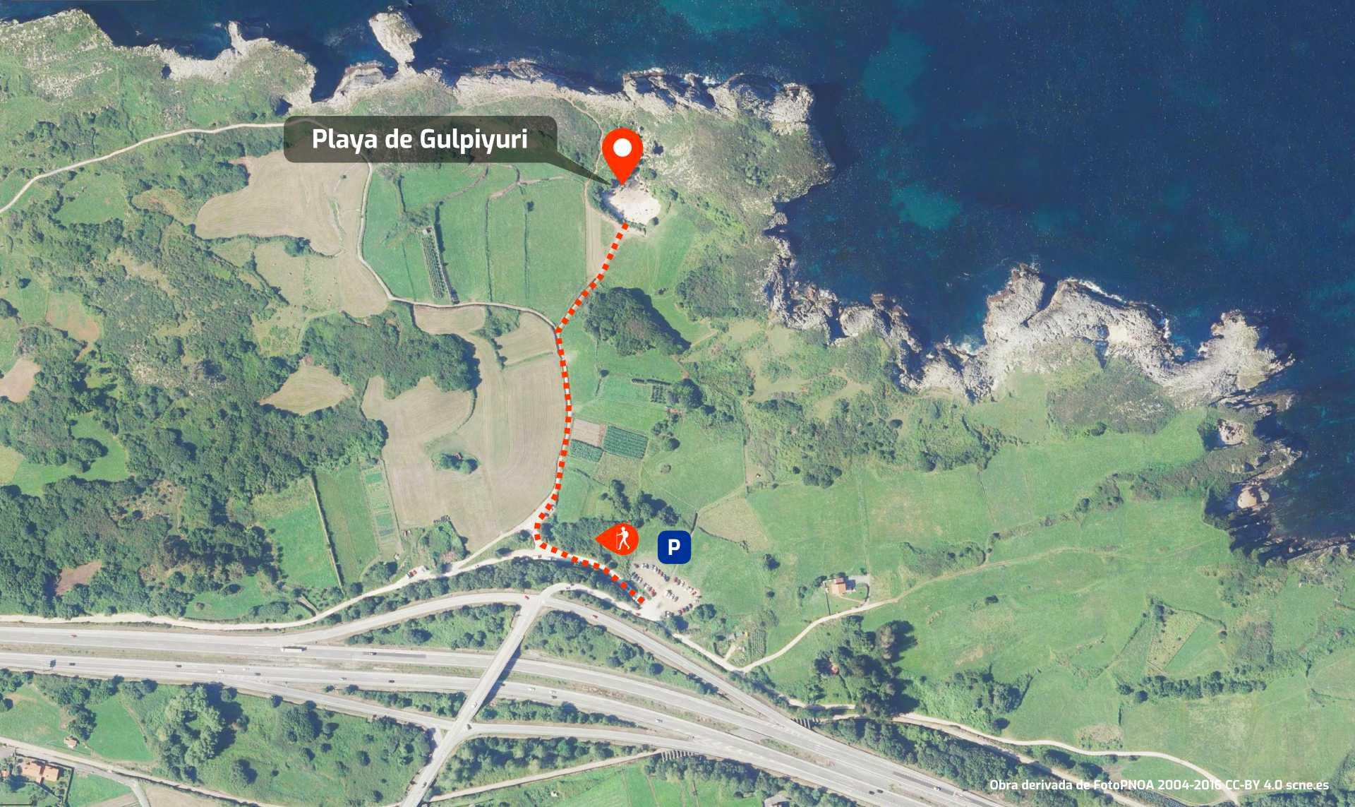 Mapa de cómo llegar a la Playa de Gulpiyuri en Llanes, Asturias