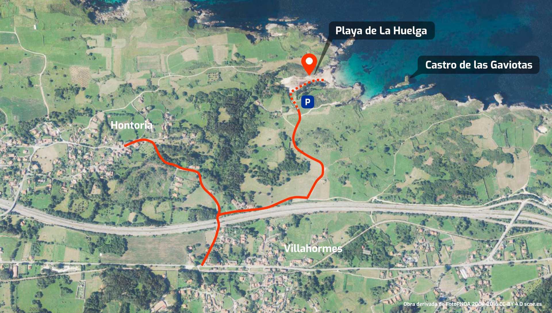 Mapa de cómo llegar a la Playa de La Huelga y al Castro de las Gaviotas, en Llanes, Asturias