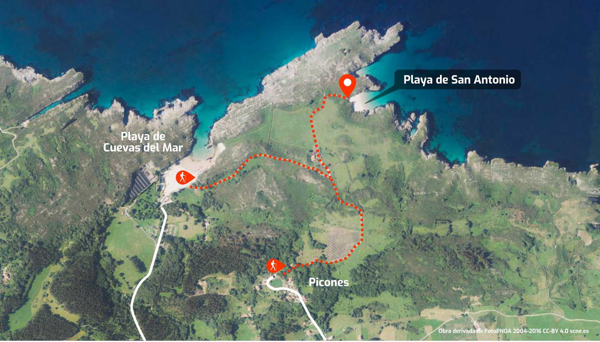 Mapa de cómo llegar a la Playa de San Antonio, en Llanes, Asturias