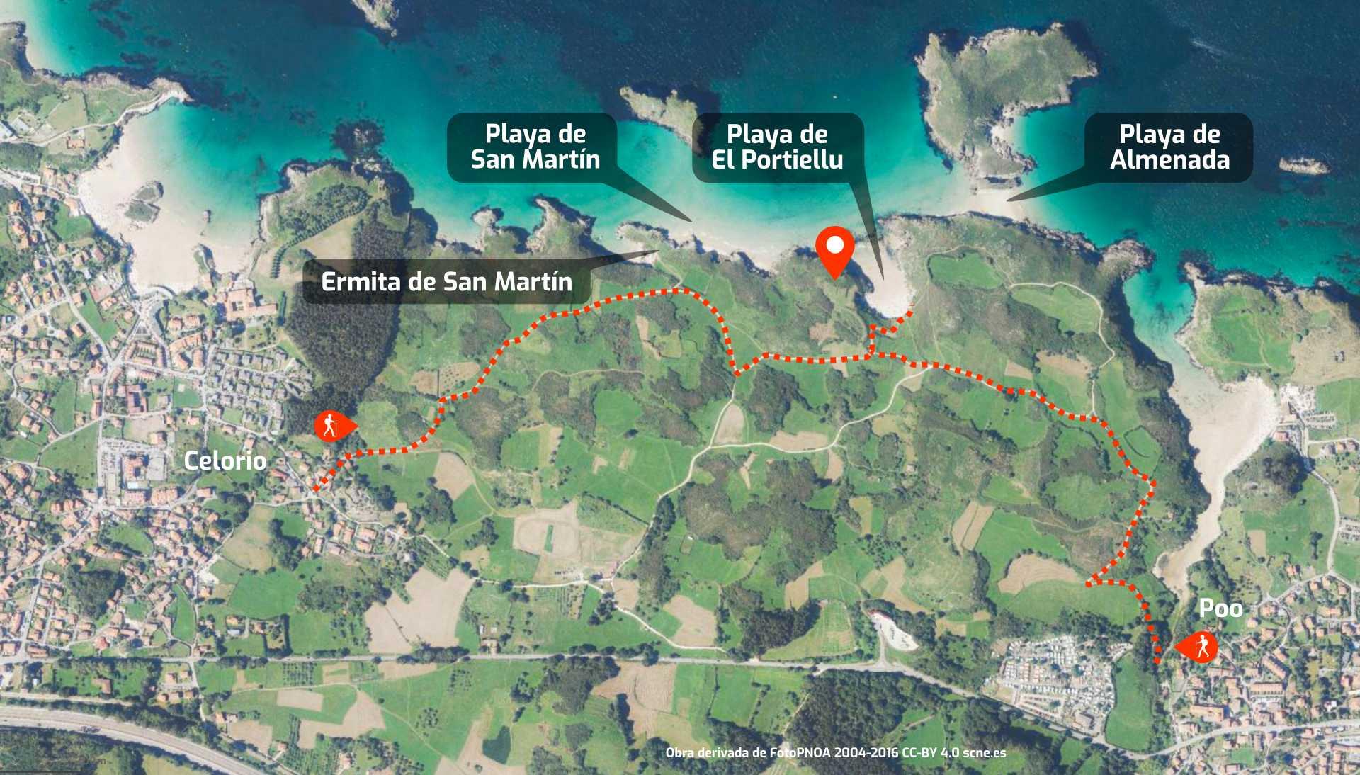 Mapa de cómo llegar a las playas de San Martín, El Portiellu y Almenada en Llanes, Asturias