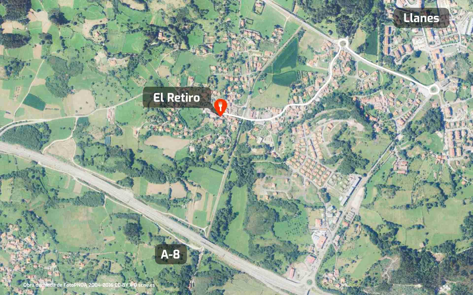Mapa de cómo llegar al restaurante El Retiro de Pancar, en Llanes, Asturias