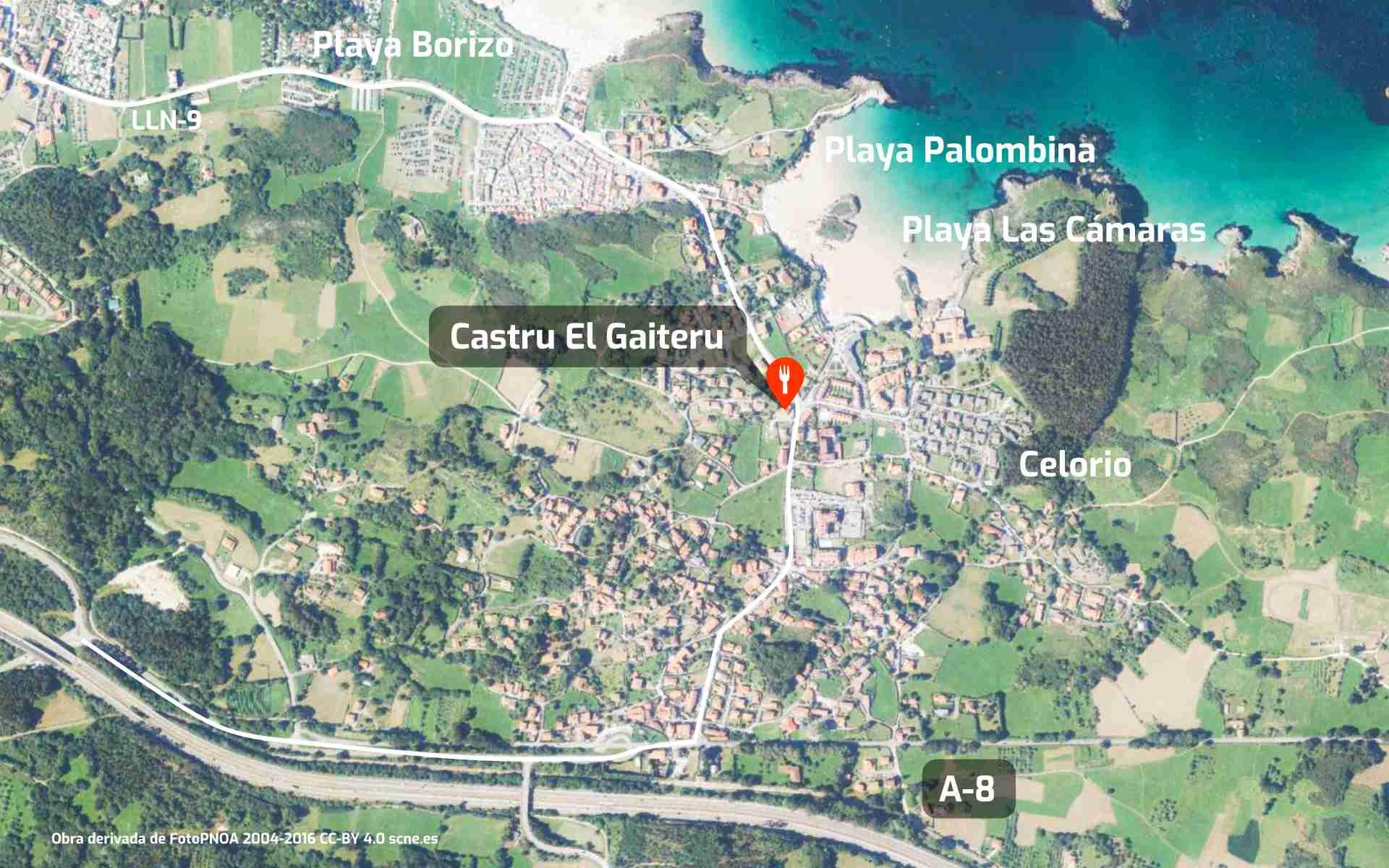 Mapa de cómo llegar al restaurante Castru El Gaiteru en Celorio, Llanes, Asturias