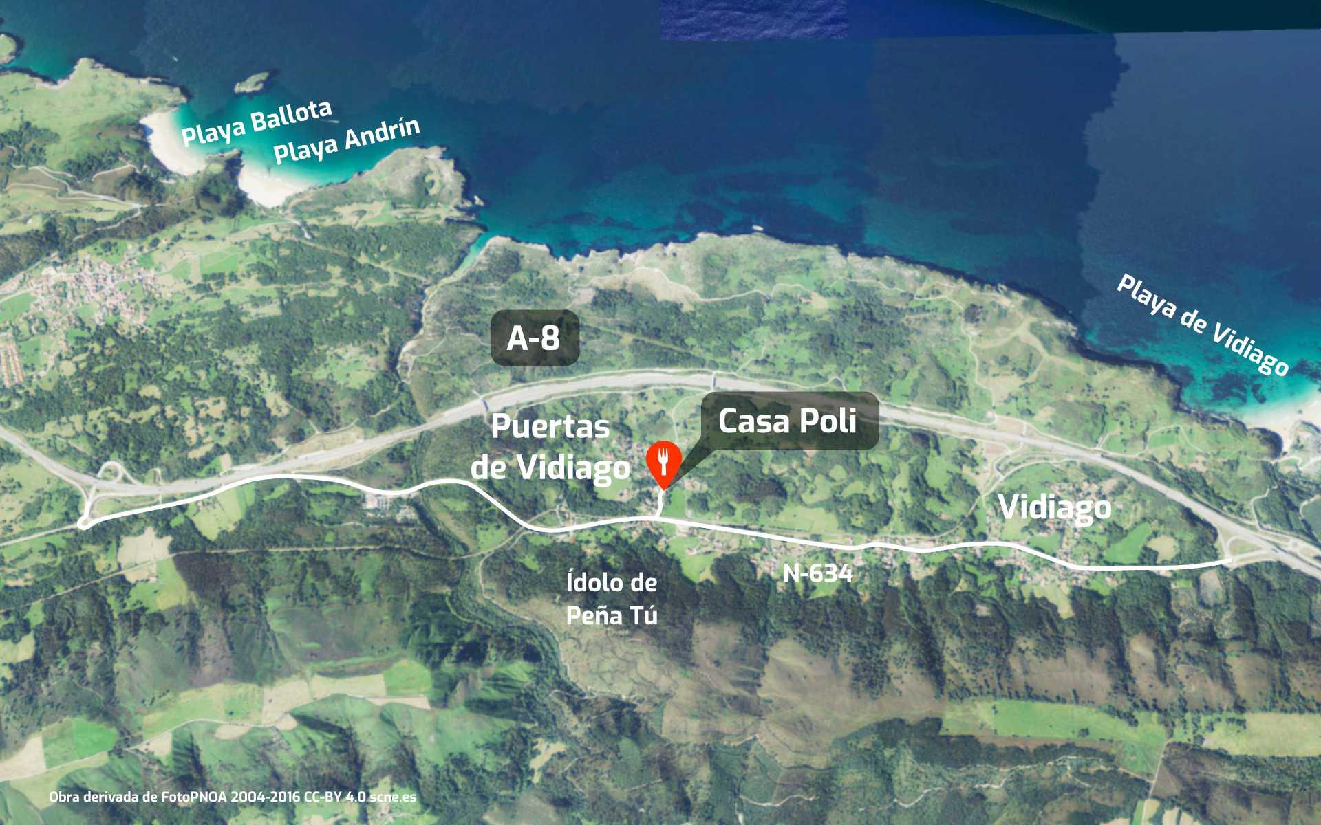 Cómo llegar al restaurante Caa Poli en Puertas de Vidiago, Llanes, Asturias