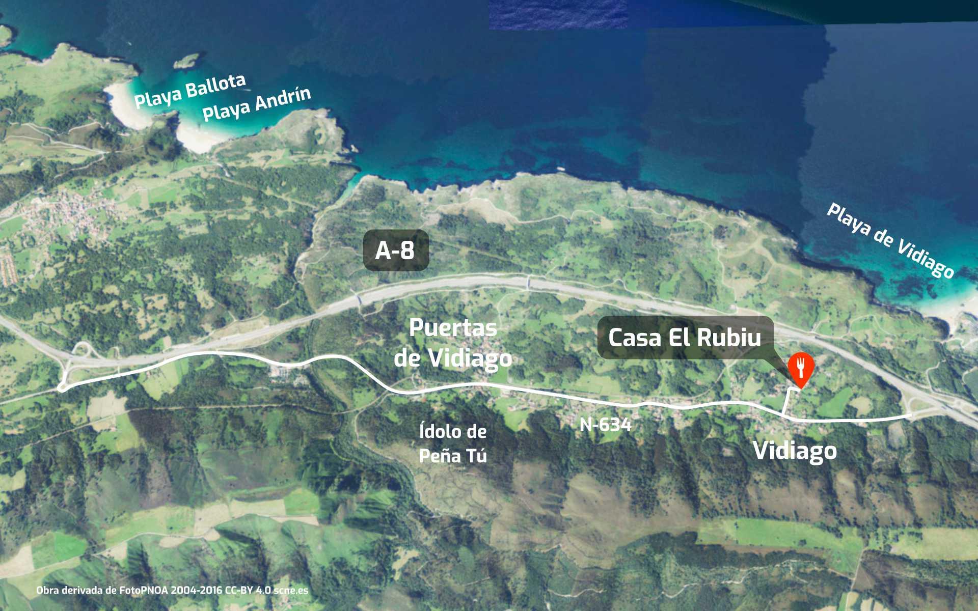 Mapa de como llegar al restaurante Sidrería Casa El Rubiu en Vidiago, Llanes, Asturias´