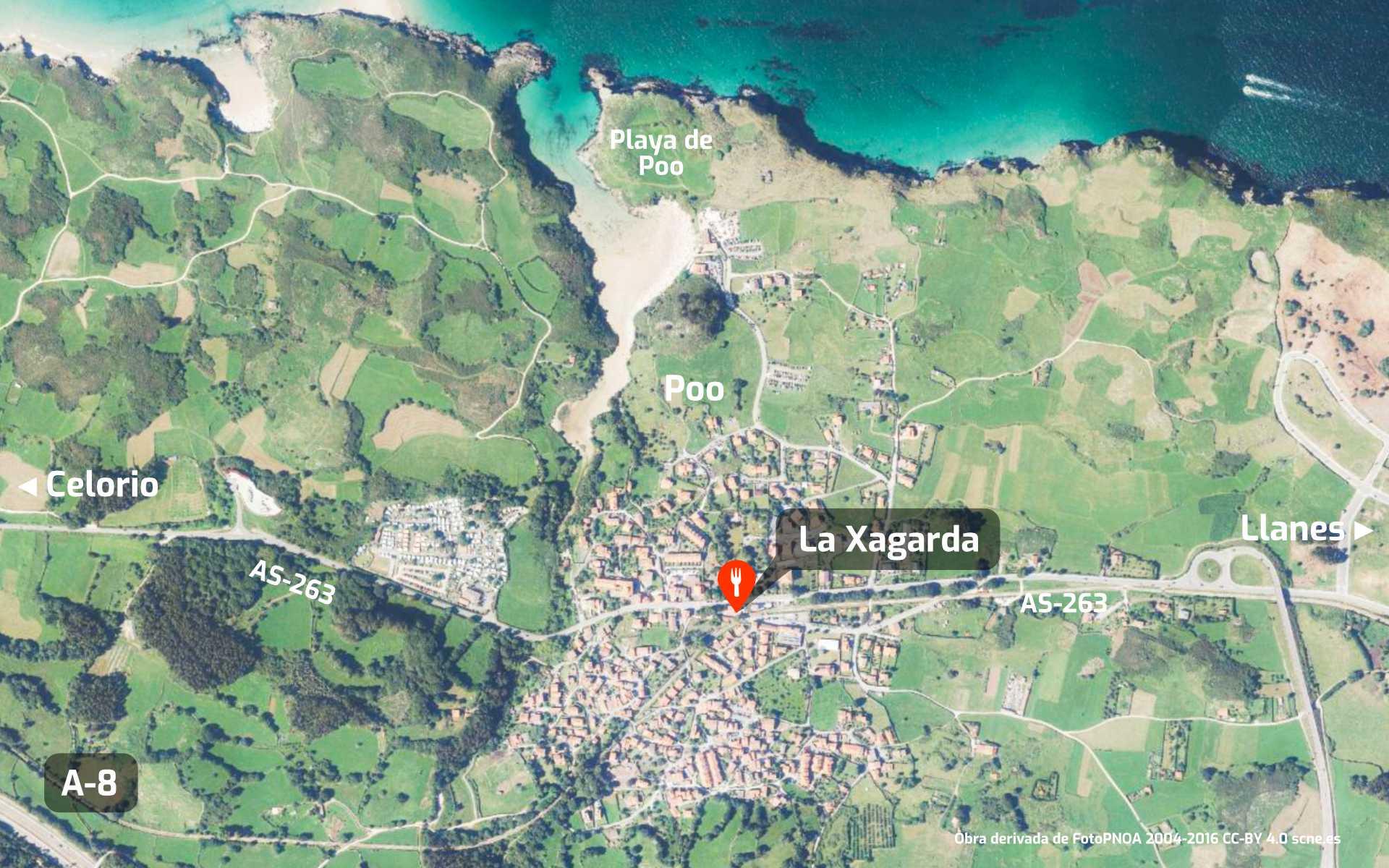 Mapa de cómo llegar al restaurante La Xagarda en Poo, Llanes, Asturias