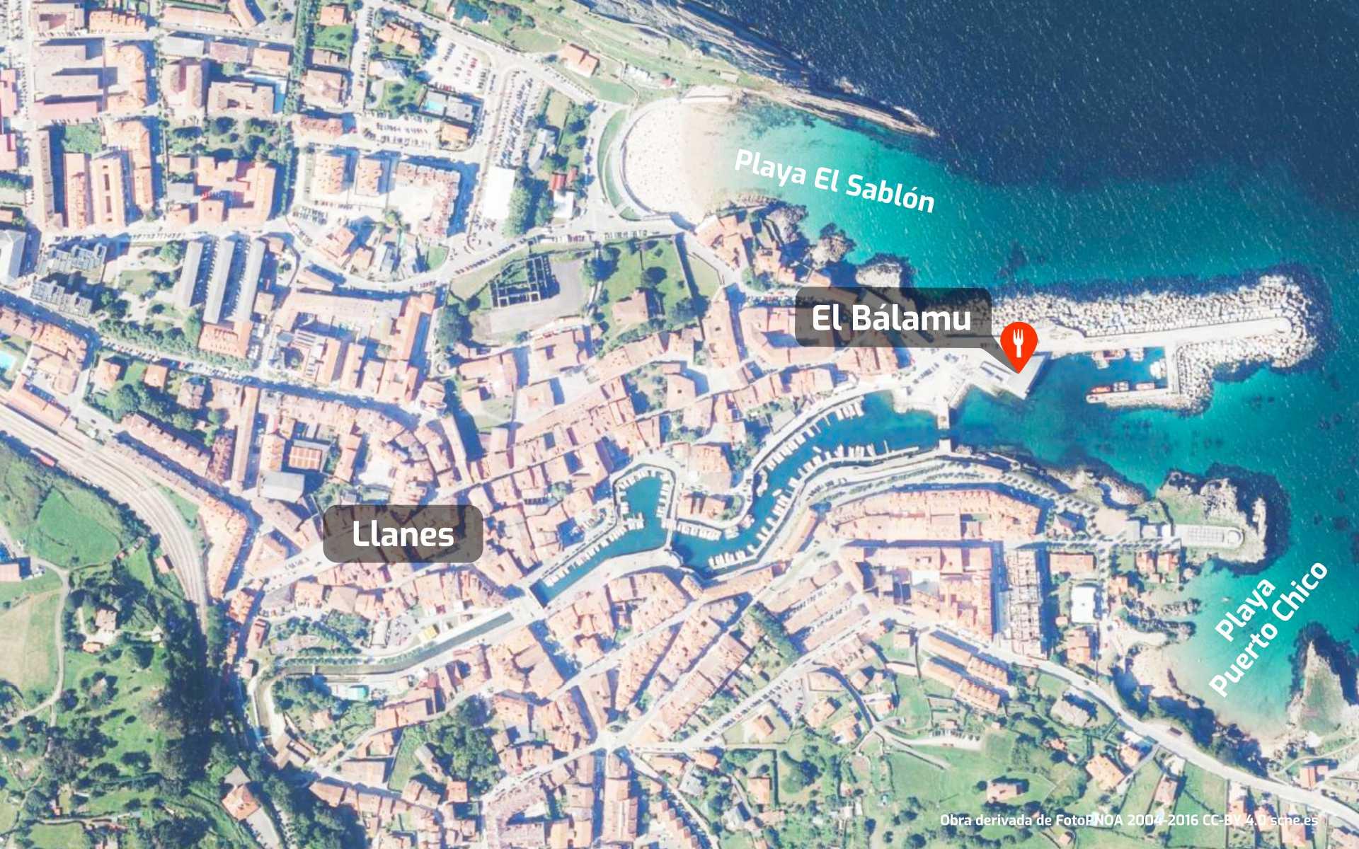 Mapa de cómo llegar al restaurante Bálamu en Llanes, Asturias