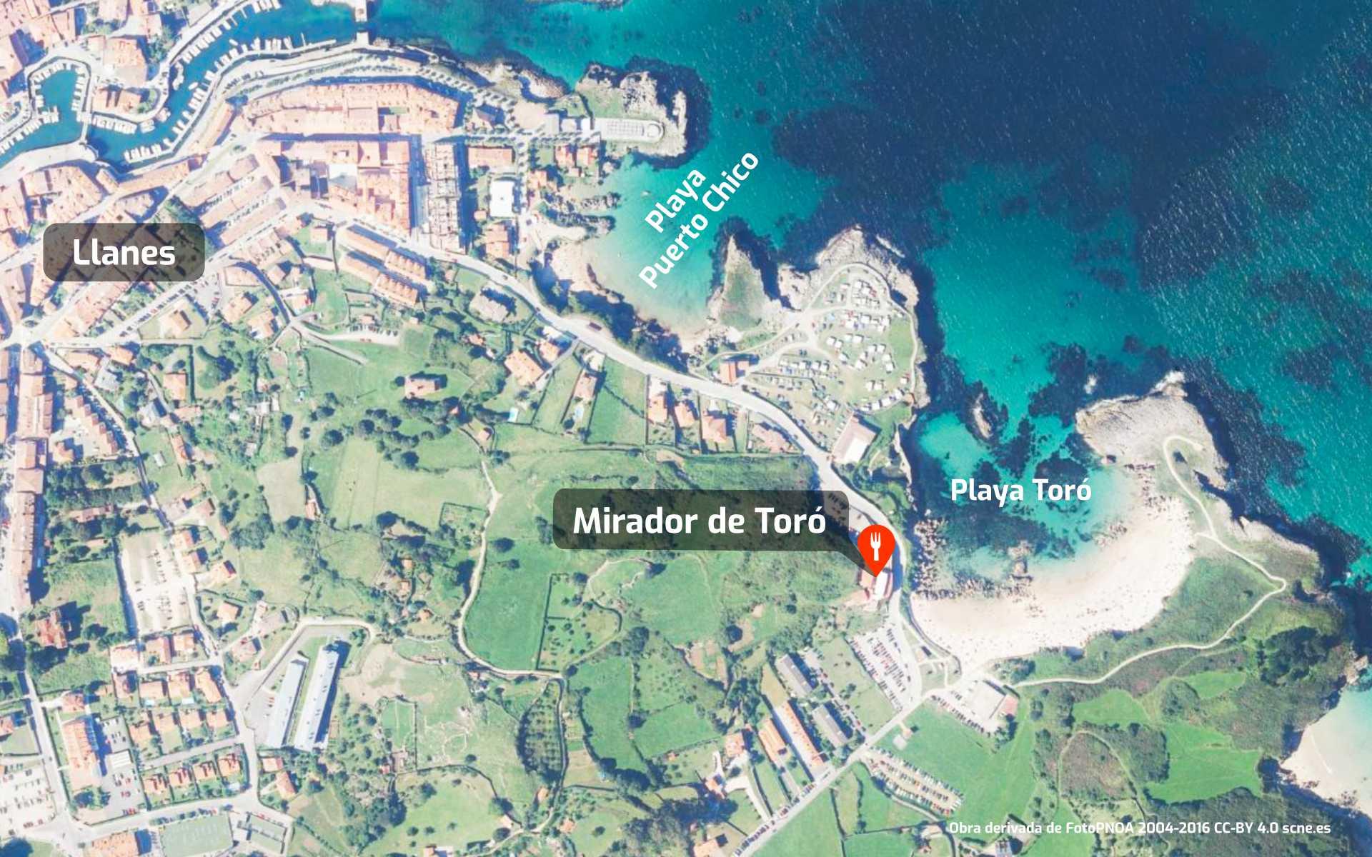 Mapa de cómo llegar al restaurante Mirador de Toró en Llanes, Asturias