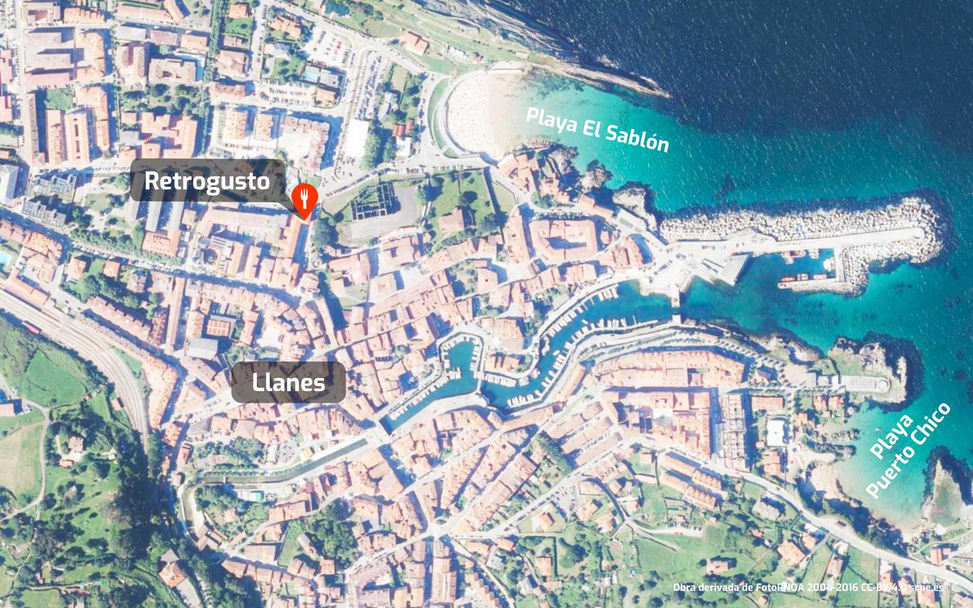Mapa de cómo llegar al restaurante Retrogusto en Llanes, Asturias