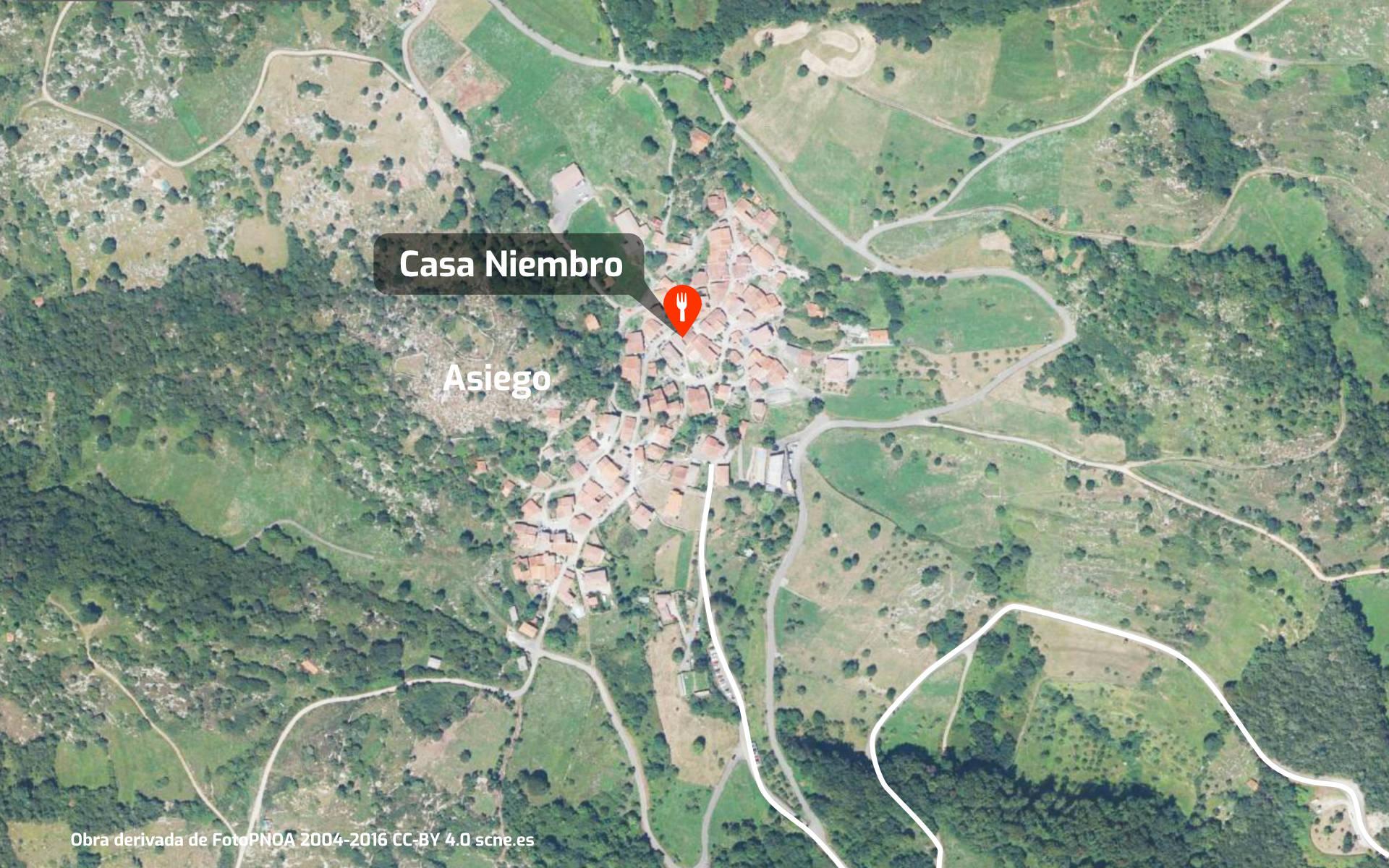 Mapa de cómo llegar al restaurante Casa Niembro en Asiego, Cabrales, Asturias