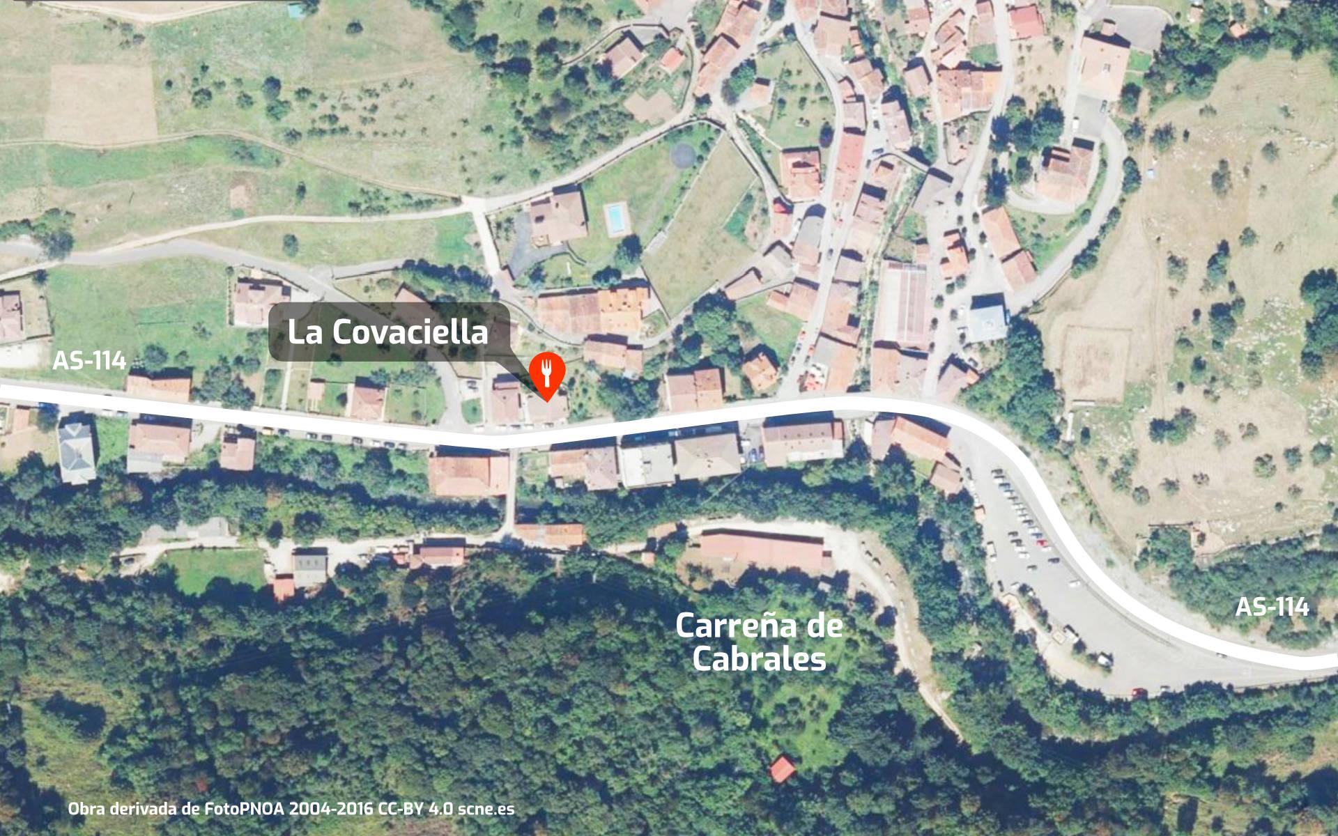 Mapa de cómo llegar al restaurante Mesón La Covaciella en Carreña de Cabrales, Asturias