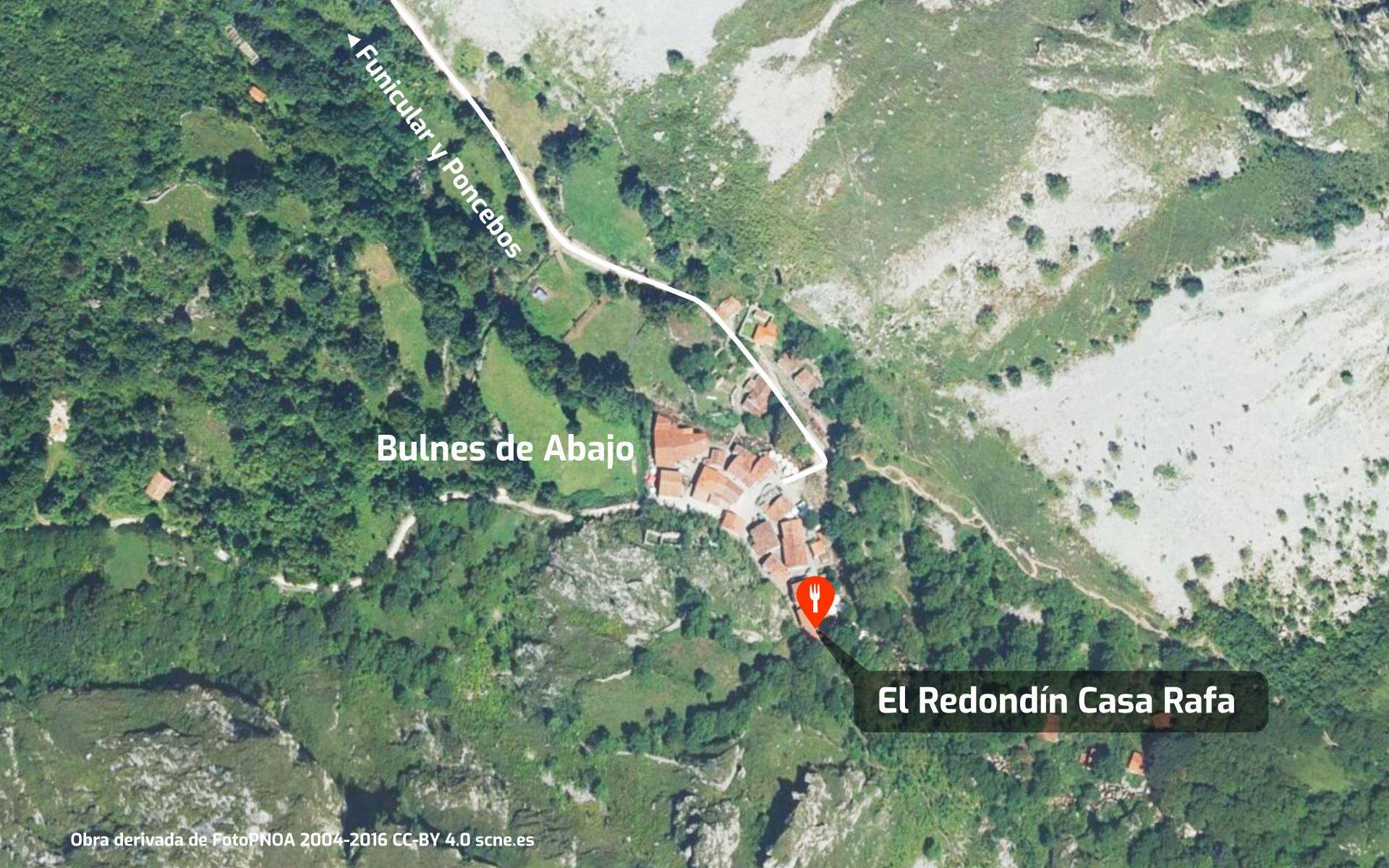 Mapa de cómo llegar al restaurante El Redondín Casa Rafa en Bulnes, Asturias