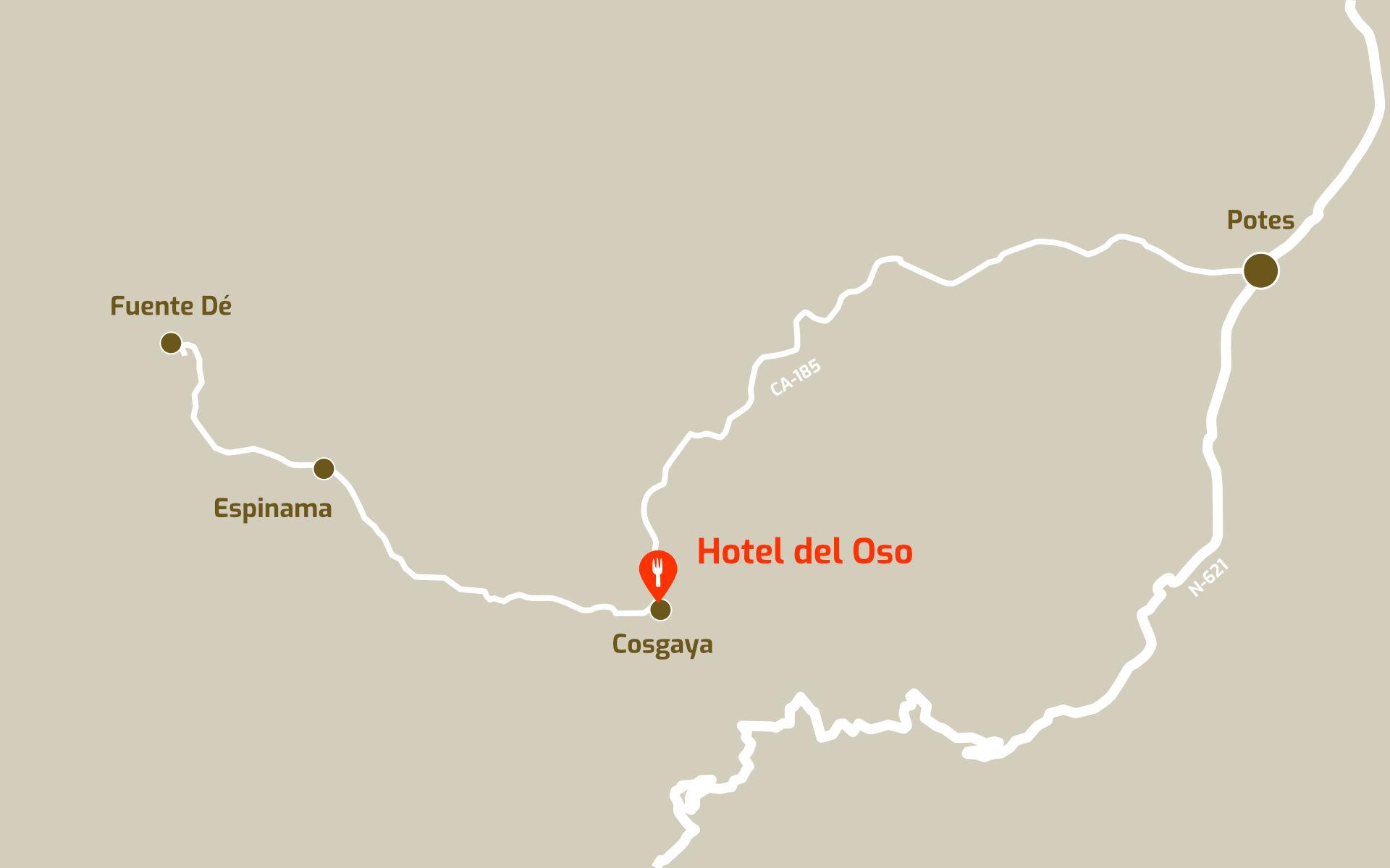 Mapa de cómo llegar al restaurante del Hotel del Oso en Cosgaya, Liébana, Cantabria