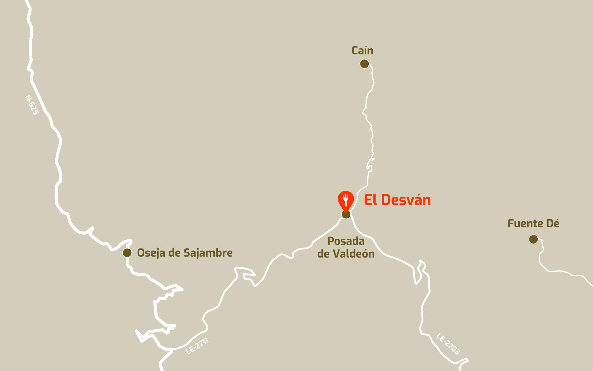 Mapa de cómo llegar al restaurante El Desván en Posada de Valdeón, León