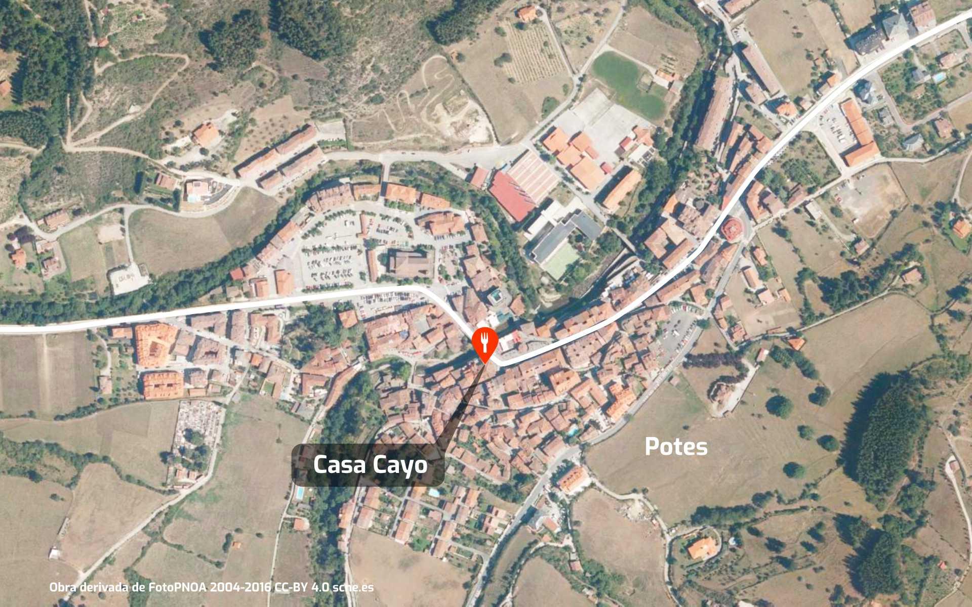 Mapa de cómo llegar al restaurante Casa Cayo en Potes, Cantabria