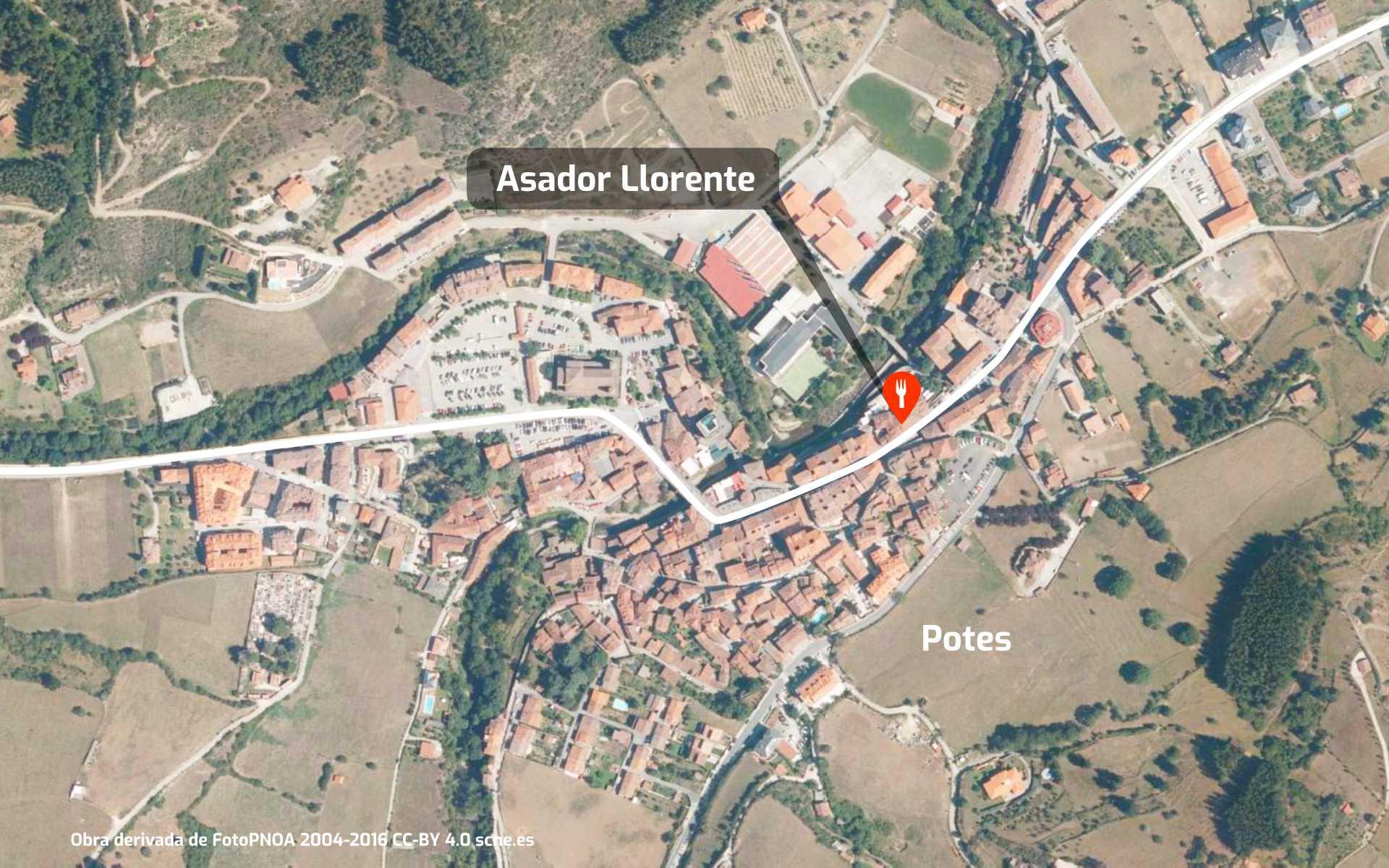 Mapa de cómo llegar al restaurante Asador Llorente en Potes, Liébana, Cantabria