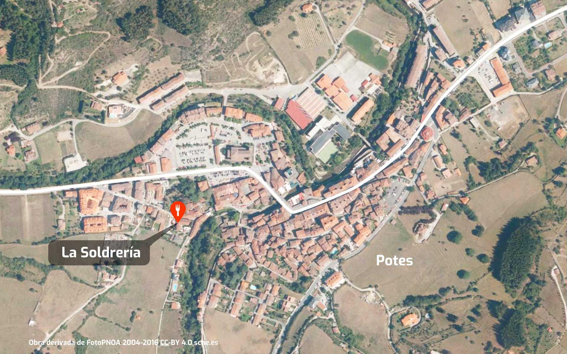 Mapa de cómo llegar al restaurante La Soldrería en Potes, Liébana, Cantabria