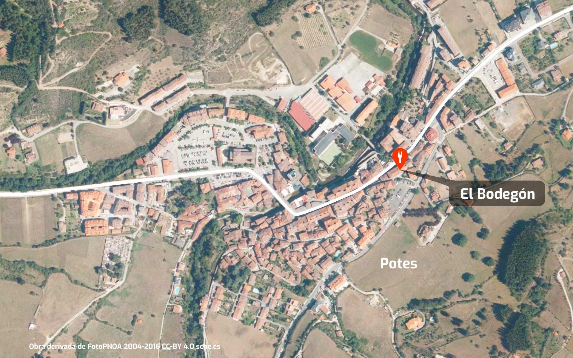 Mapa de cómo llegar al restaurante El Bodegón de Potes, Liébana, Cantabria