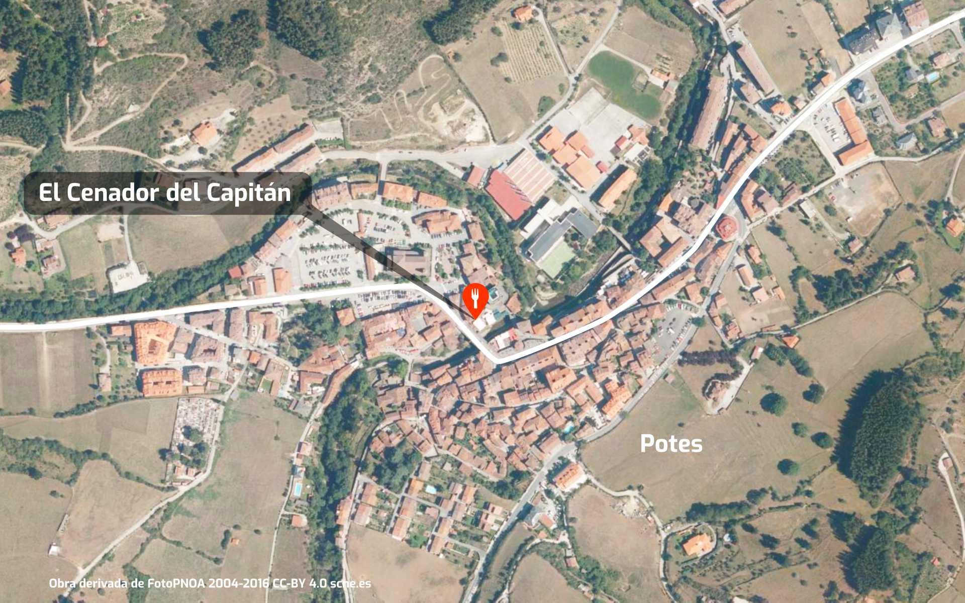 Mapa de cómo llegar al restaurante El Cenador del Capitán en Potes, Cantabria
