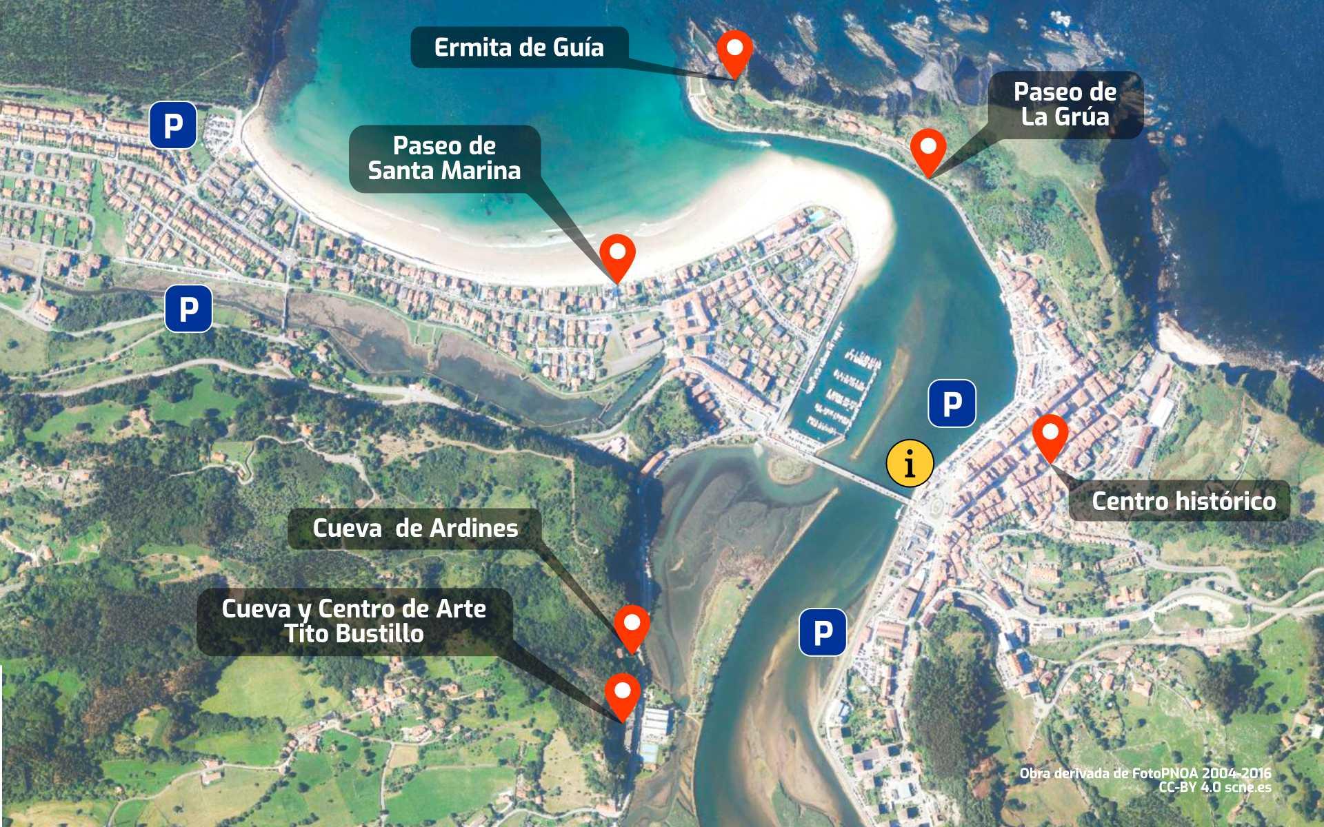 Mapa de la villa de Ribadesella, Asturias