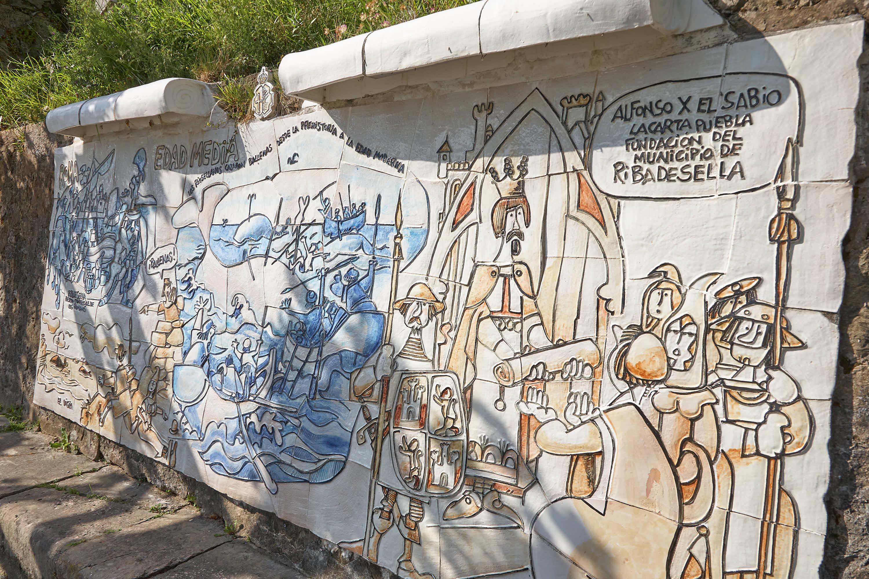 Panel de la Ruta histórica por MIngote en el Paseo de la Grúa en Ribadesella, Asturias