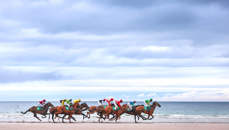 Carrera de caballos sobre la arena de la playa junto al mar