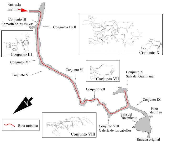 Plano de la Cueva de Tito Bustillo, en Ribadesella, Asturias