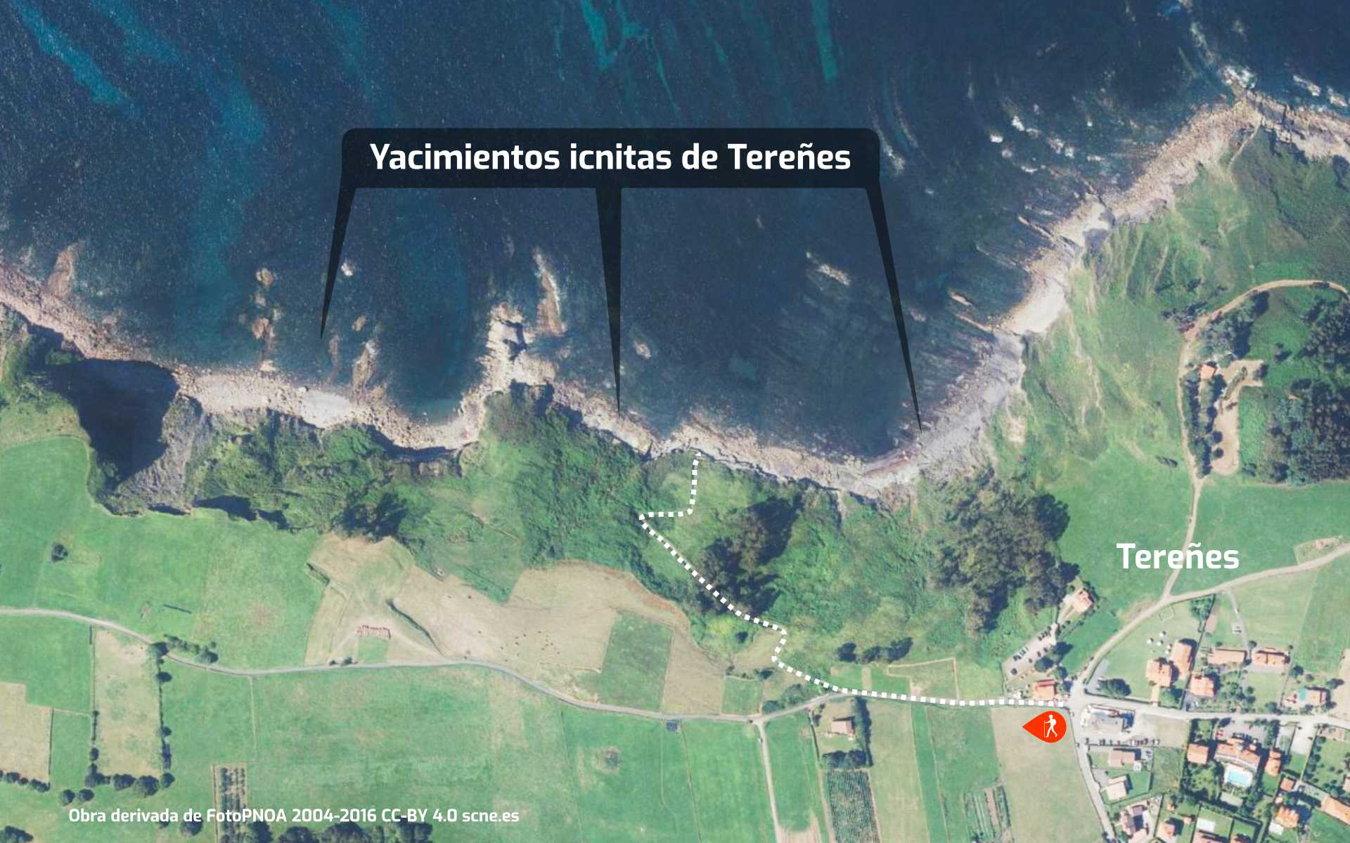 Mapa de cómo llegar al yacimiento de icnitas con huellas de dinosaurio de Tereñes