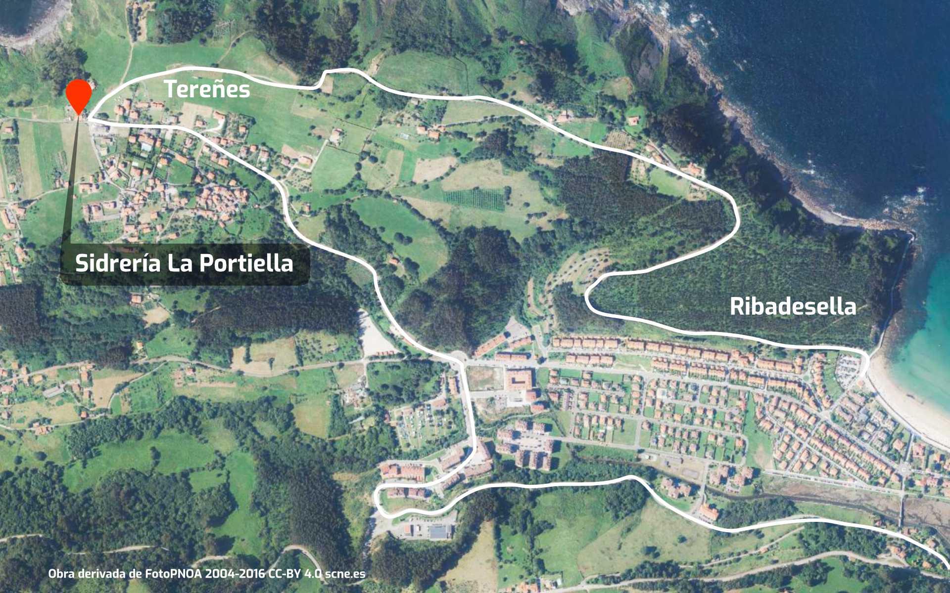 Mapa de cómo llegar a Tereñes desde Ribadesella para acceder a su yacimiento de icnitas con huellas de dinosaurio