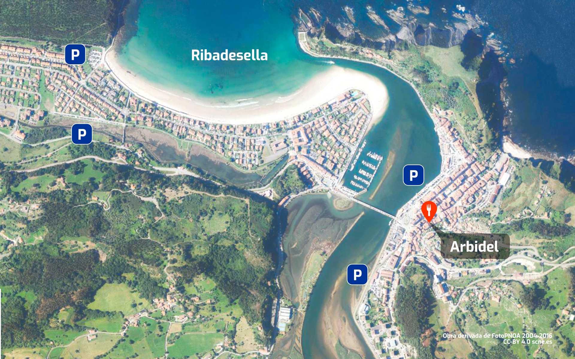 Mapa de cómo llegar al restaurante Arbidel en Ribadesella, Asturias.