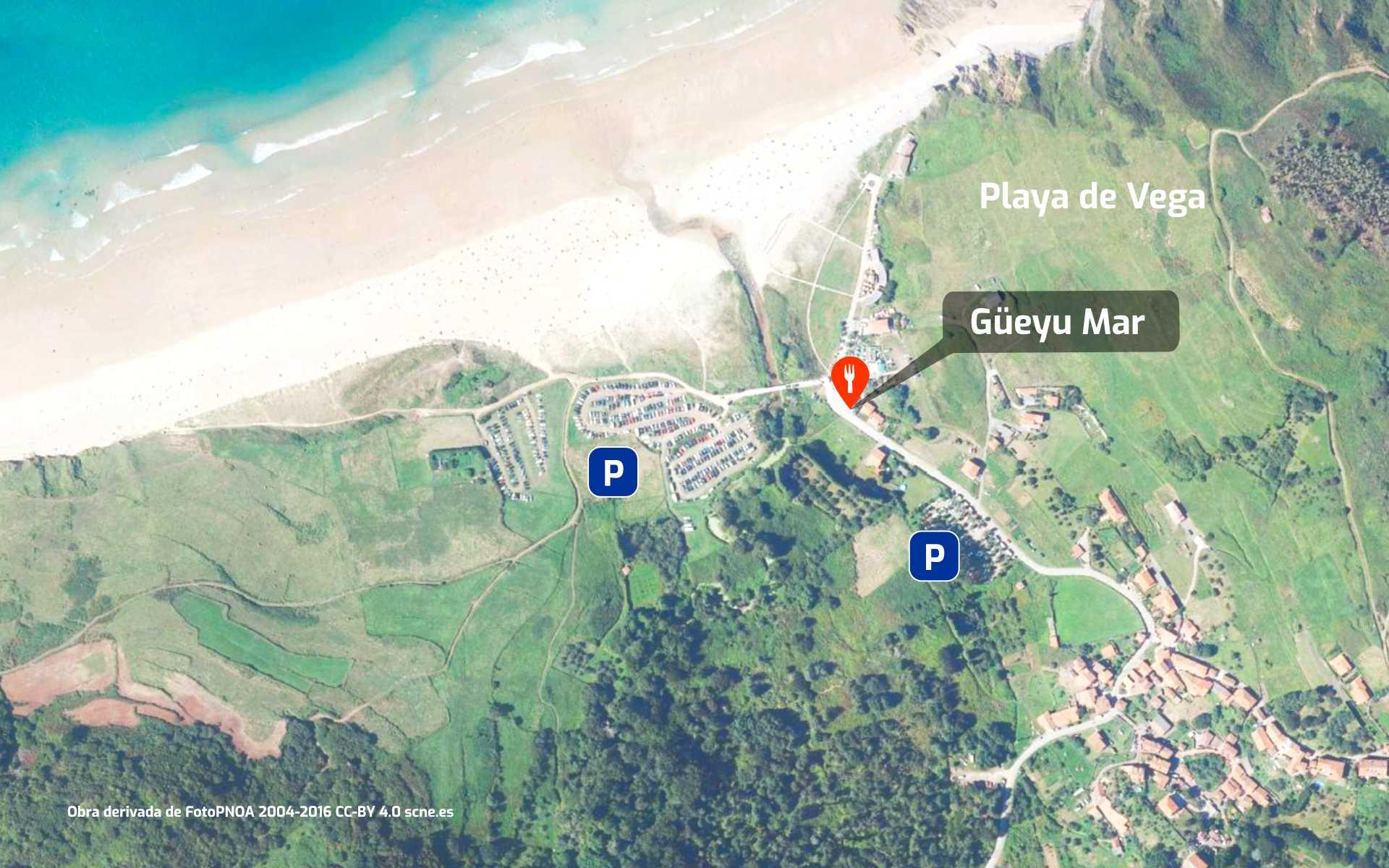 Mapa cómo llegar al restaurante Güeyu Mar en Playa de Vega de Ribadesella, Asturias