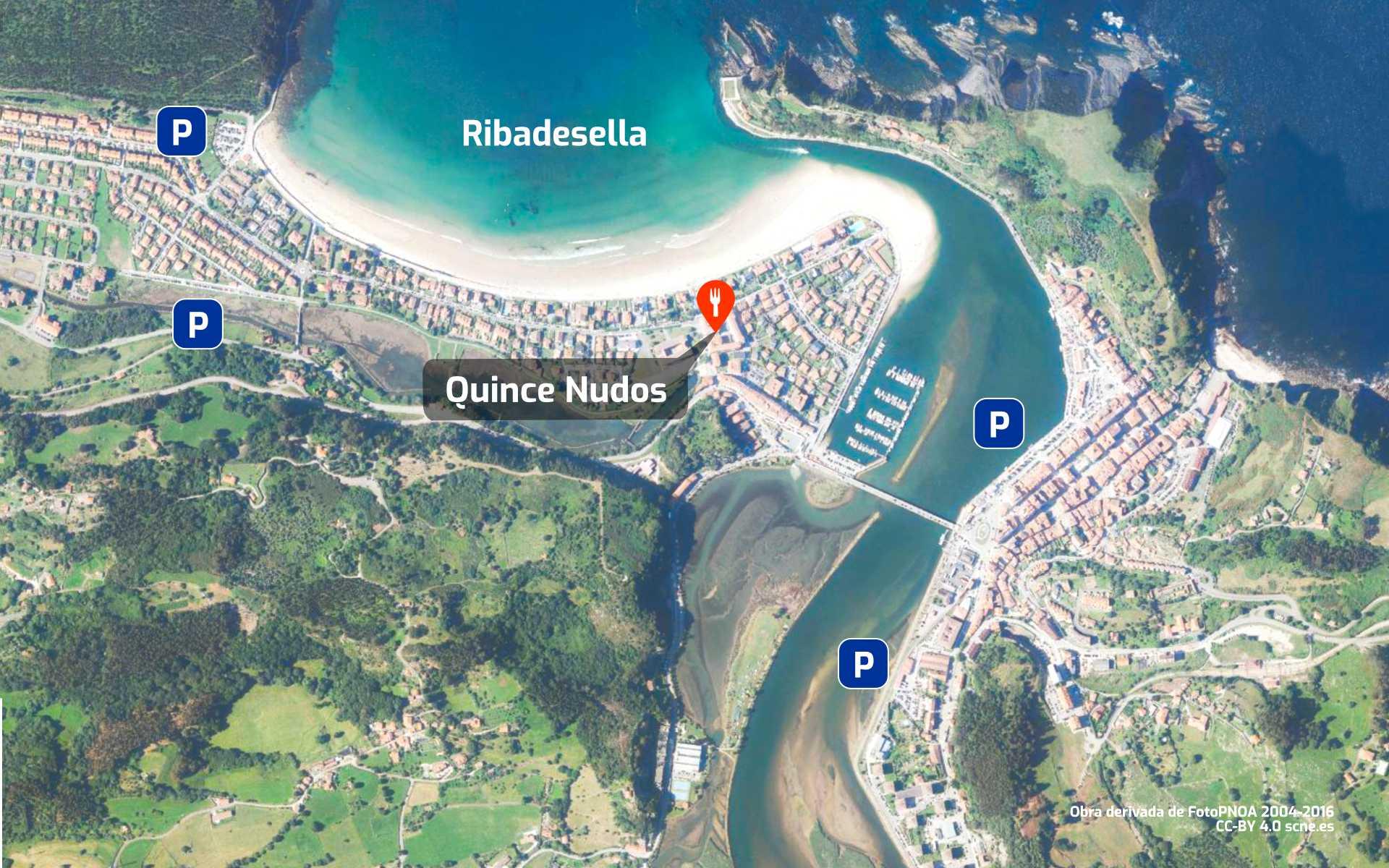 Mapa de cómo llegar al restaurante Quince Nudos en Ribadesella, Asturias