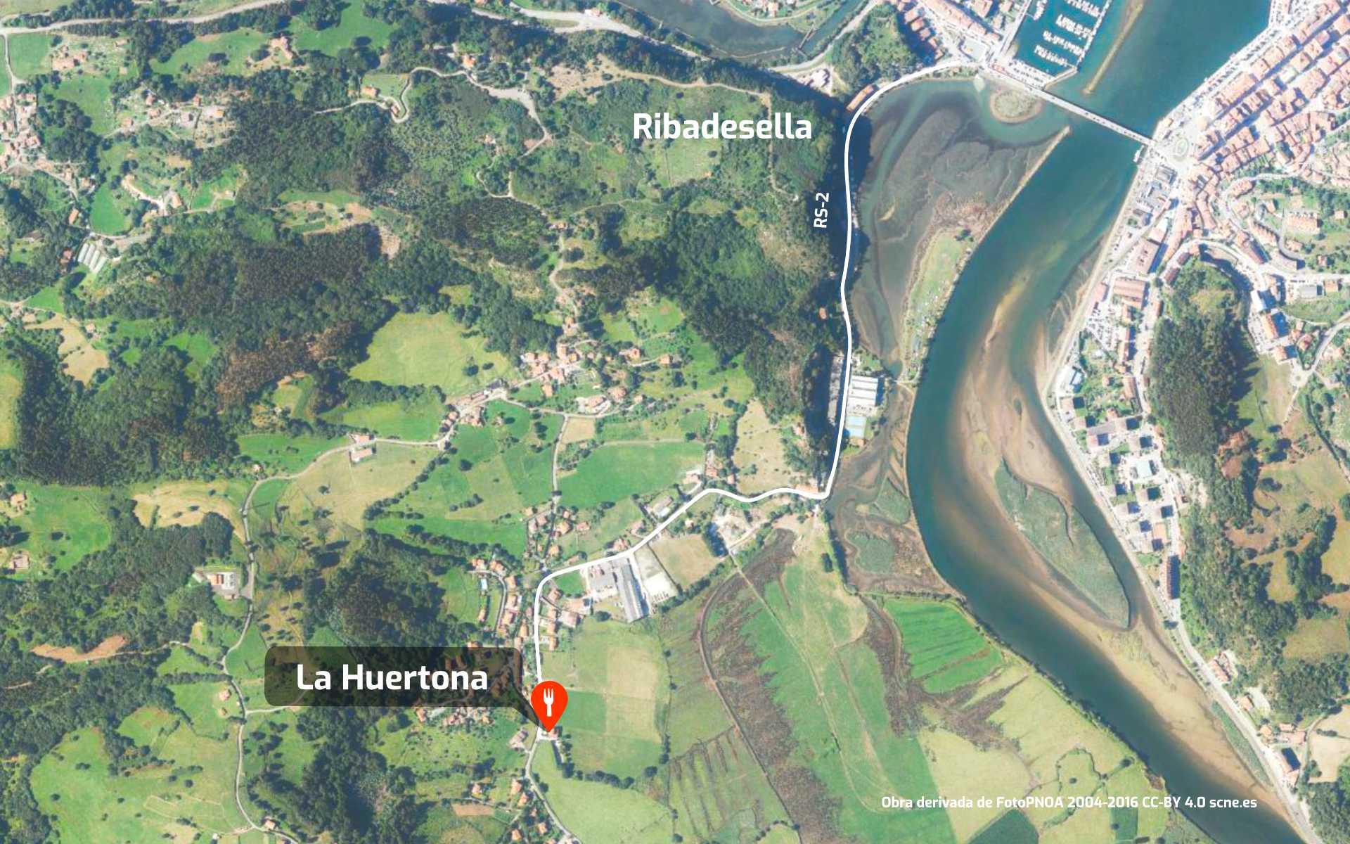 Mapa de cómo llegar al restaurante La Huertona en Ribadesella, Asturias